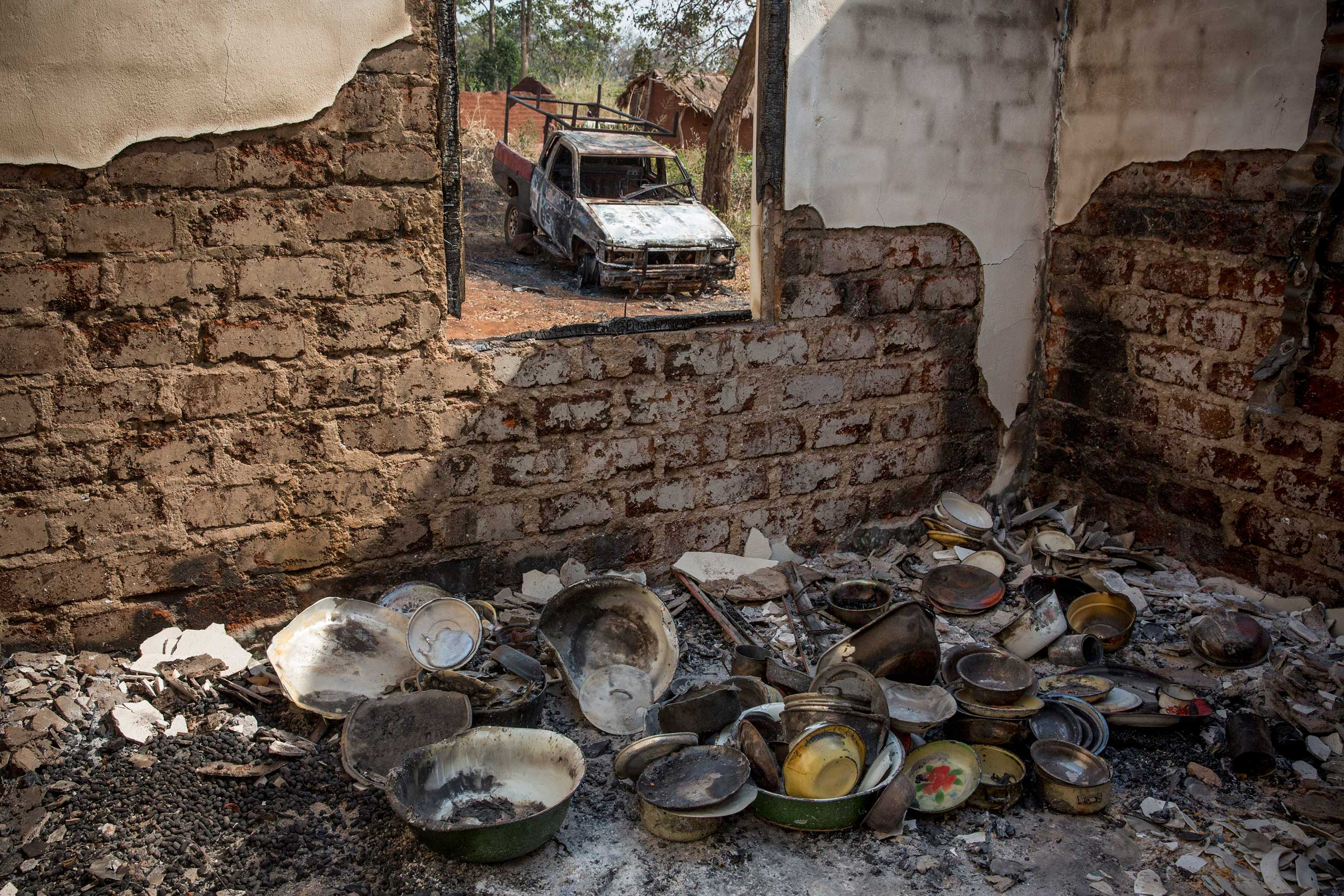Jan. 25, 2014: A house burnt by Séléka fighters before they left the village of Zawa.