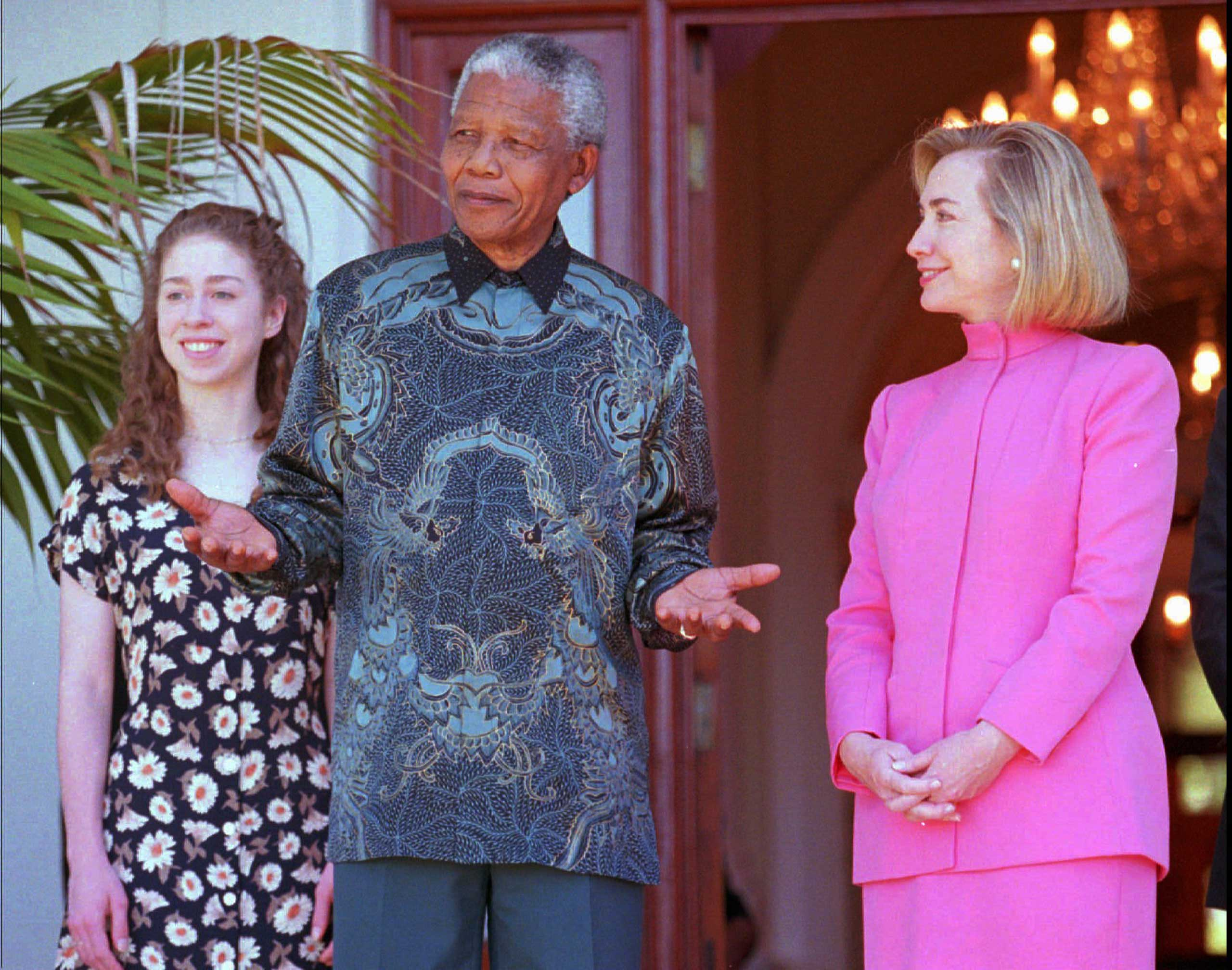 South African President Nelson Mandela and United States first lady Hillary Rodham Clinton, right, and daughter Chelsea Clinton, left, at a meeting in Cape Town, South Africa on March 20 1997.