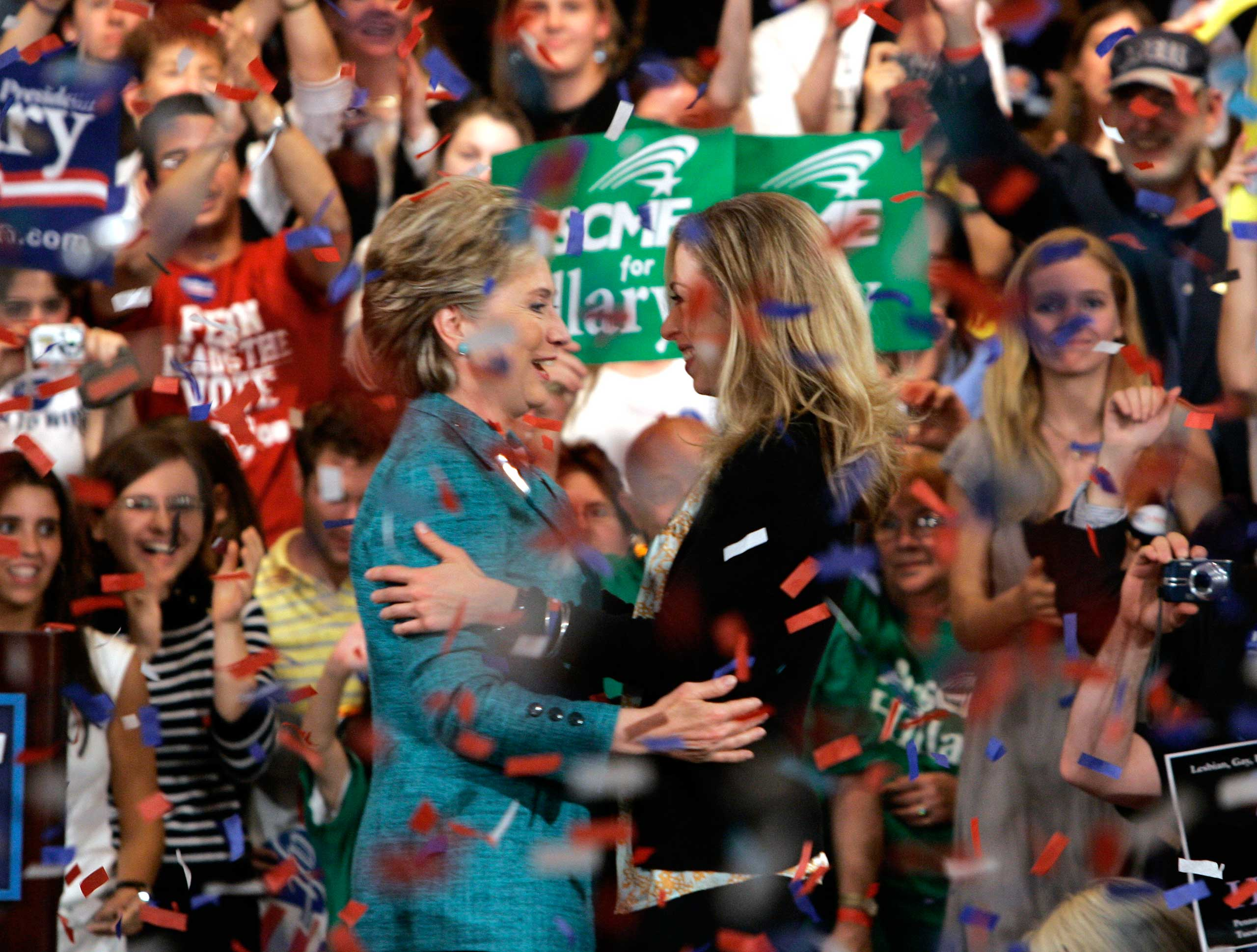 Democratic presidential hopeful Sen. Hillary Rodham Clinton, D-N.Y., celebrates with her daughter Chelsea Clinton at her primary election night rally in Philadelphia on April 22, 2008.