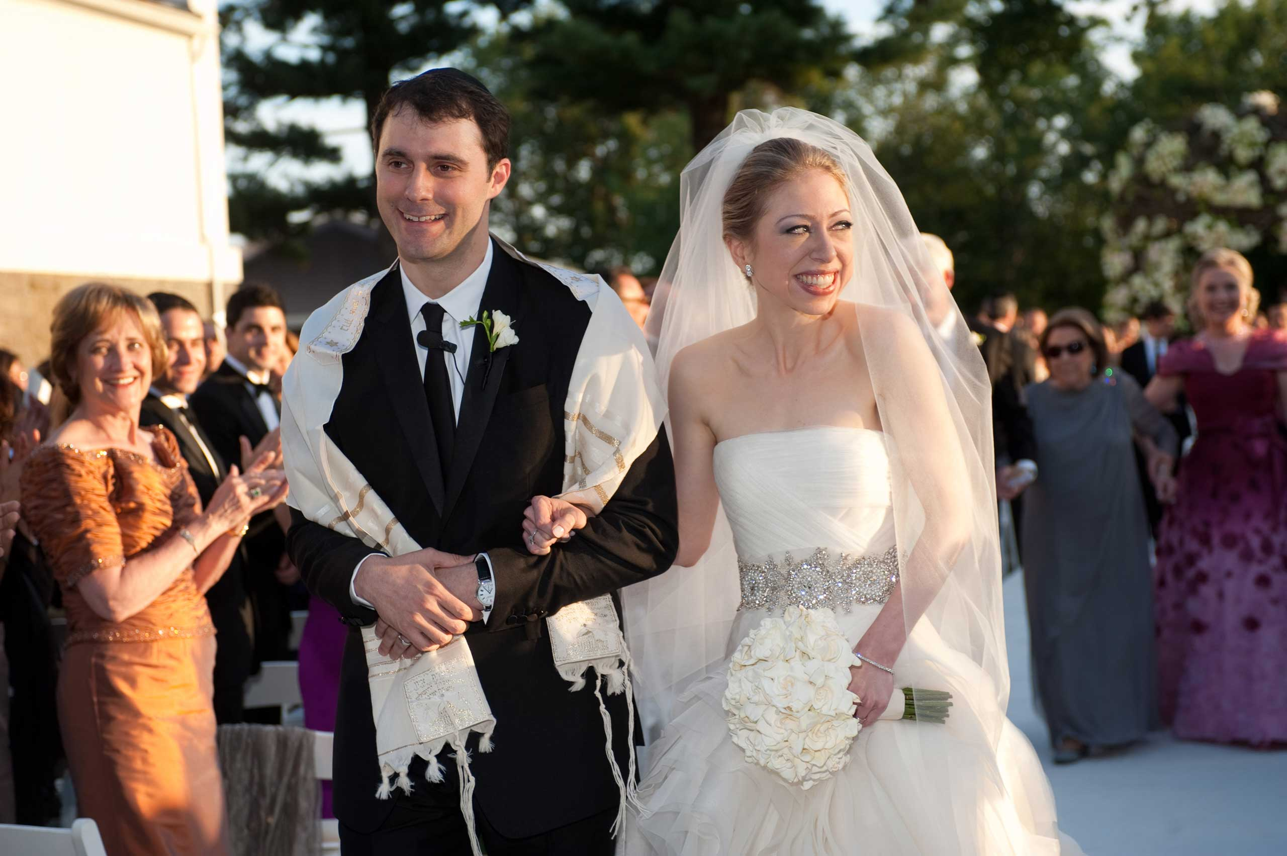 Chelsea Clinton and Marc Mezvinsky are seen during their wedding in Rhinebeck, N.Y. on July 31, 2010.