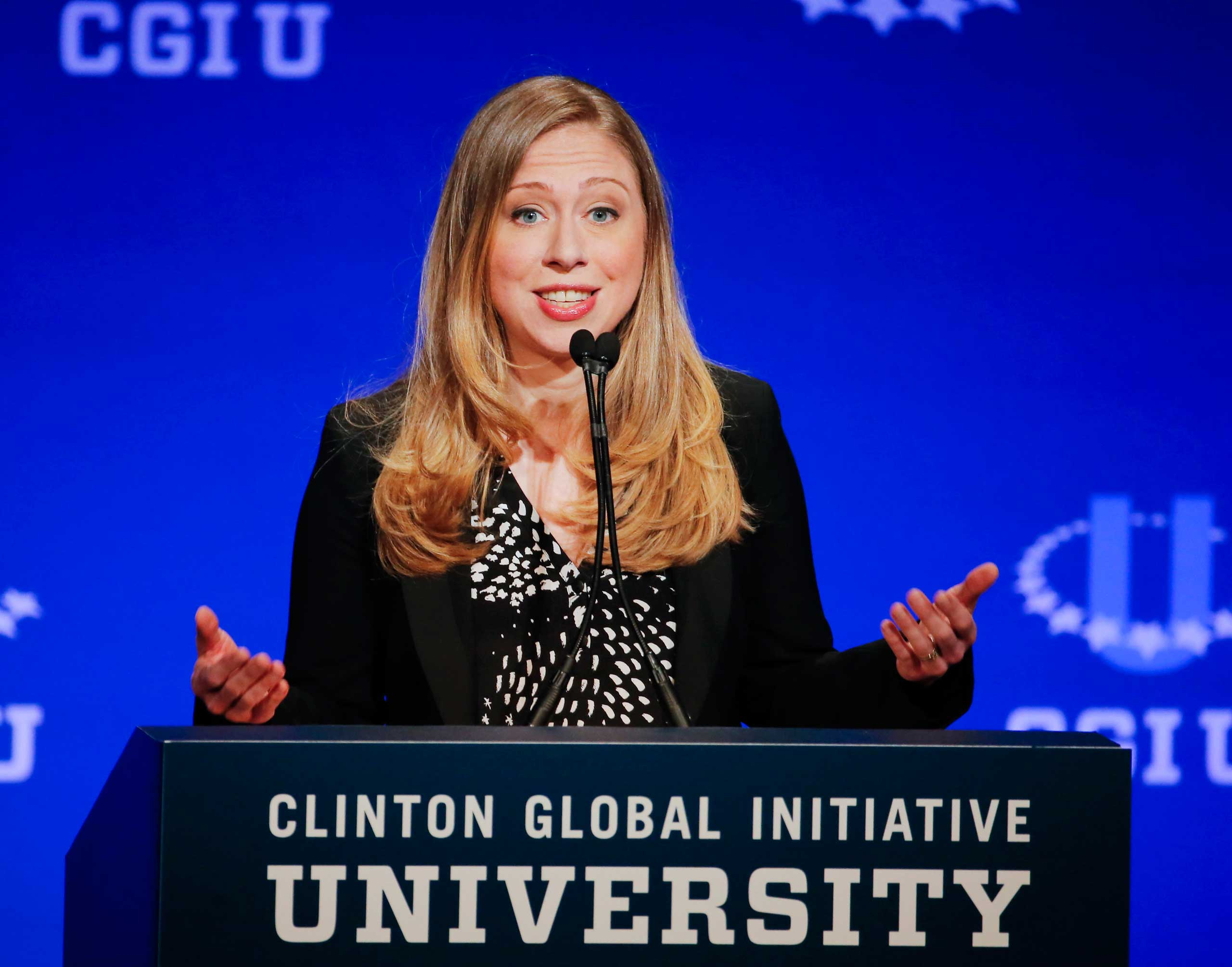 Vice Chair of the Clinton Foundation Chelsea Clinton speaks during a student conference for the Clinton Global Initiative University, at Arizona State University in Tempe, Ariz. on March 22, 2014.