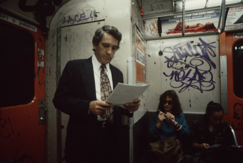 A commuter reading, 1981.
