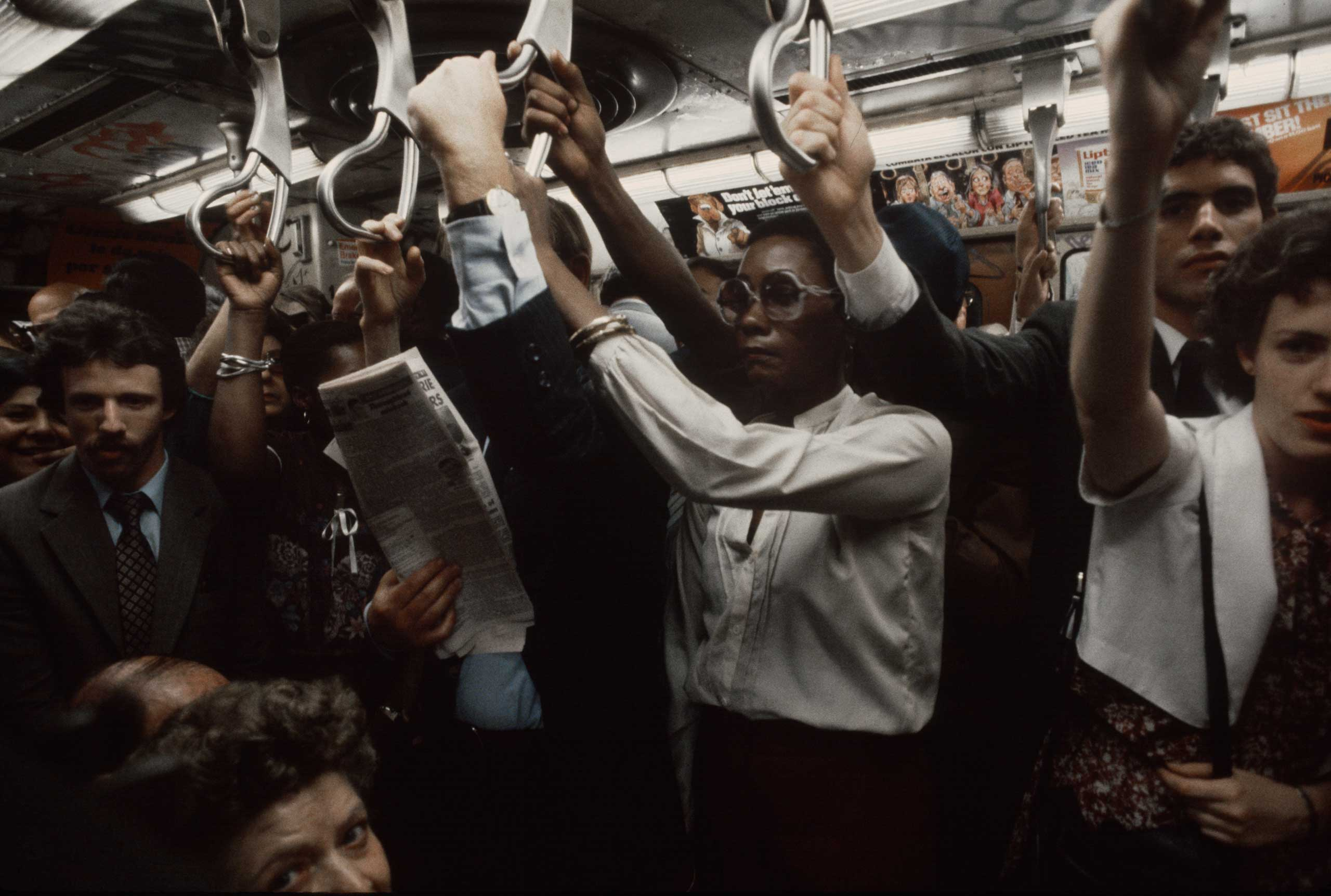 A packed subway car during rush hour, 1981.
