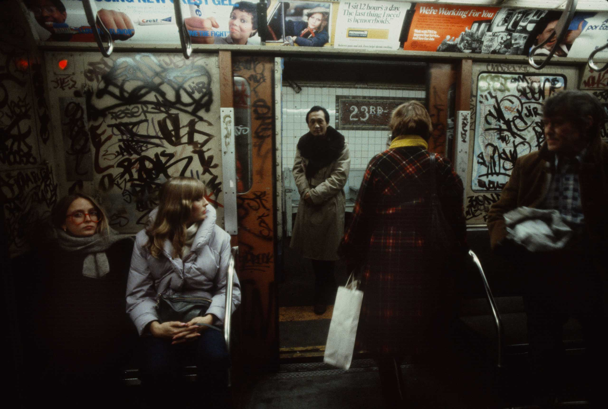 A man about to board a subway car, 1981.