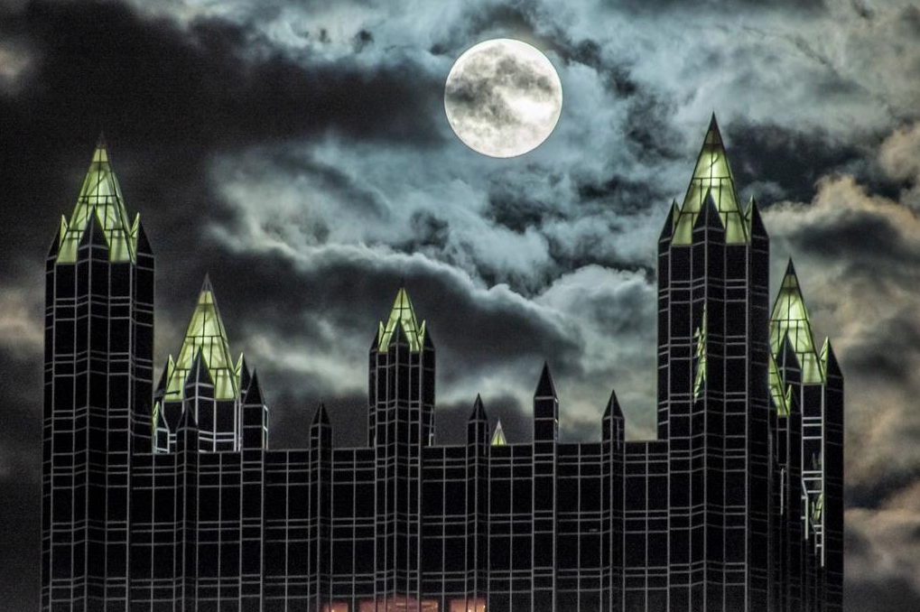 Supermoon rises over PPG Place in Pittsburgh on Sept. 8, 2014.