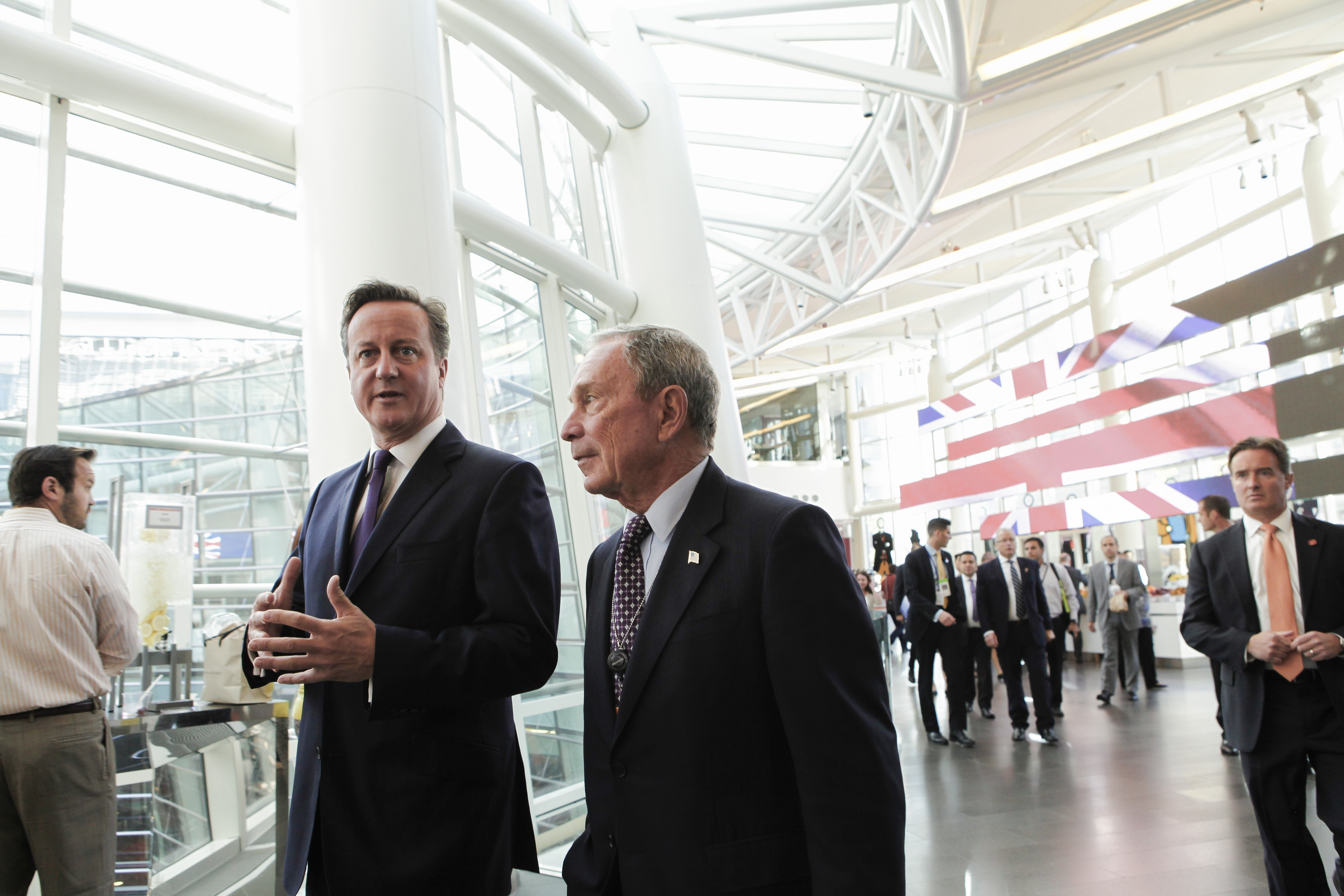 British Prime Minister David Cameron speaks with Michael  Bloomberg, founder of Bloomberg LP at Bloomberg LP headquarters on Sept. 23, 2014 in New York City.