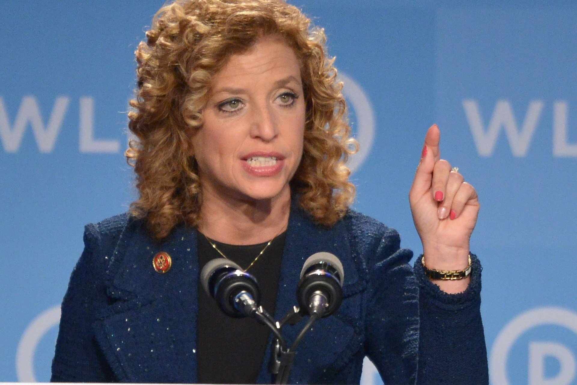 Democratic National Committee (DNC) Chair, Representative Debbie Wasserman Schultz, Democrat of Florida, speaks at the DNC's Leadership Forum Issues Conference in Washington on Sept. 19, 2014.