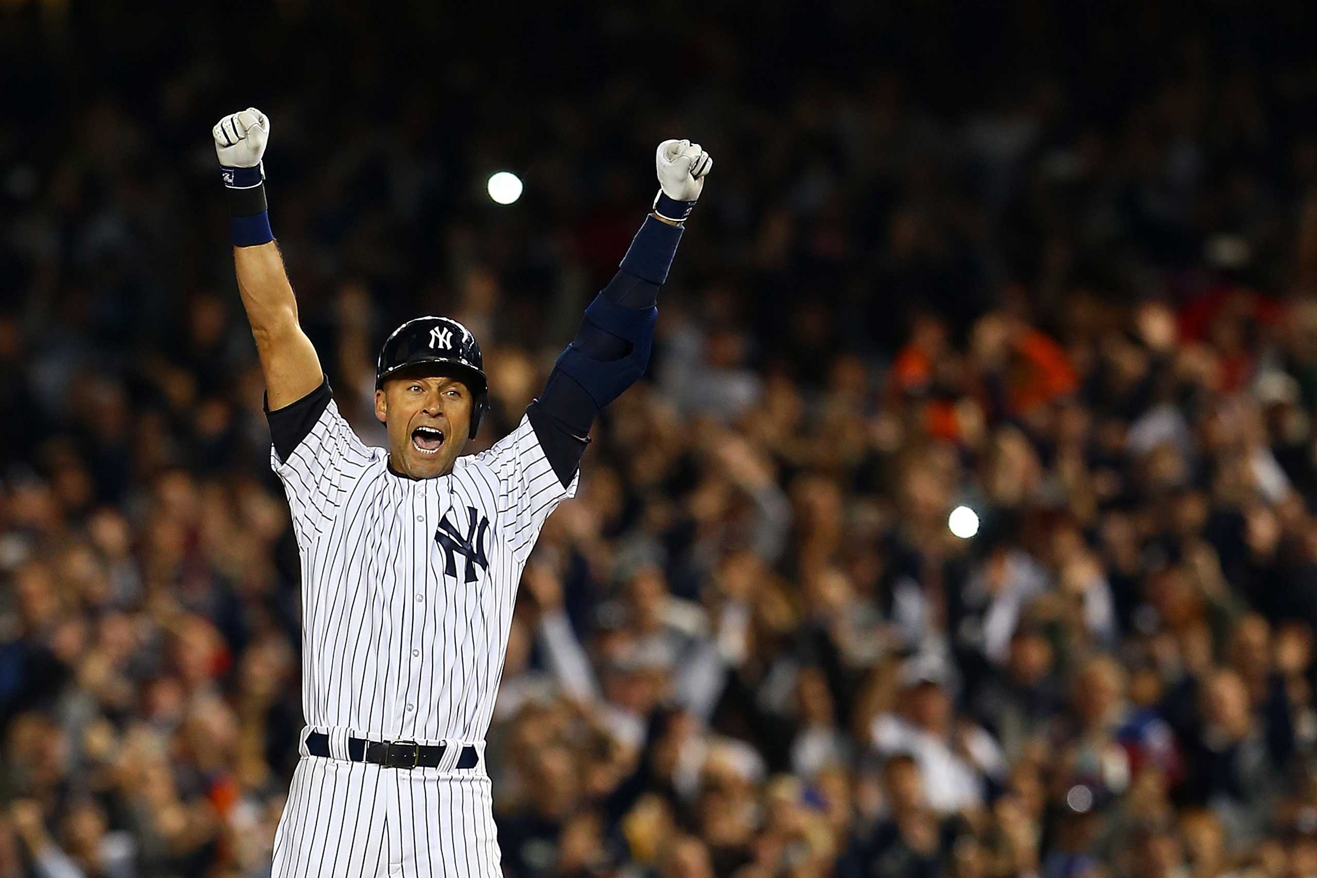 Derek Jeter celebrates after a game winning RBI hit in the ninth inning against the Baltimore Orioles in his last game ever at Yankee Stadium on Sept. 25, 2014 .