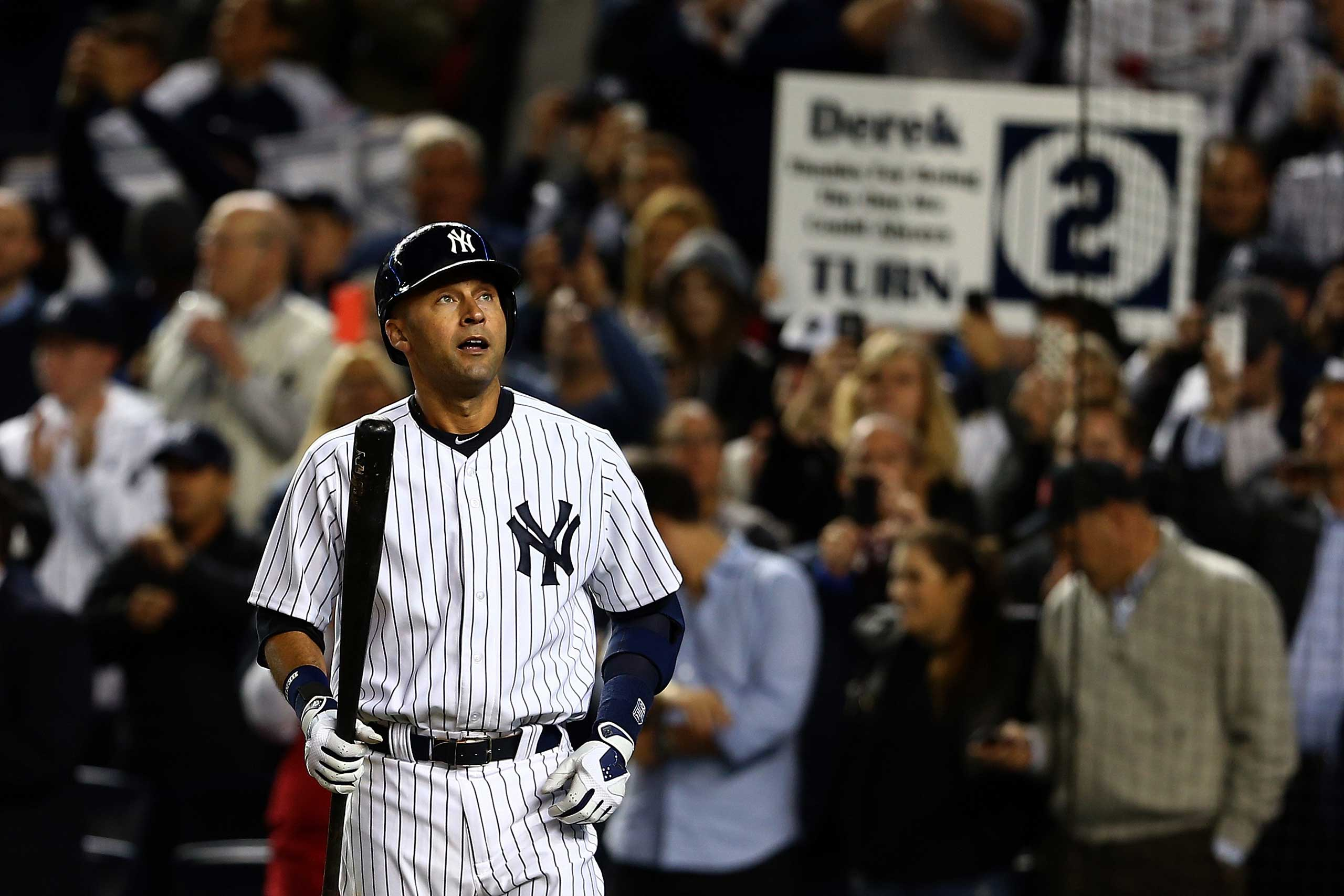 Derek Jeter walks to the plate against the Baltimore Orioles during his last game ever at Yankee Stadium on Sept. 25, 2014.