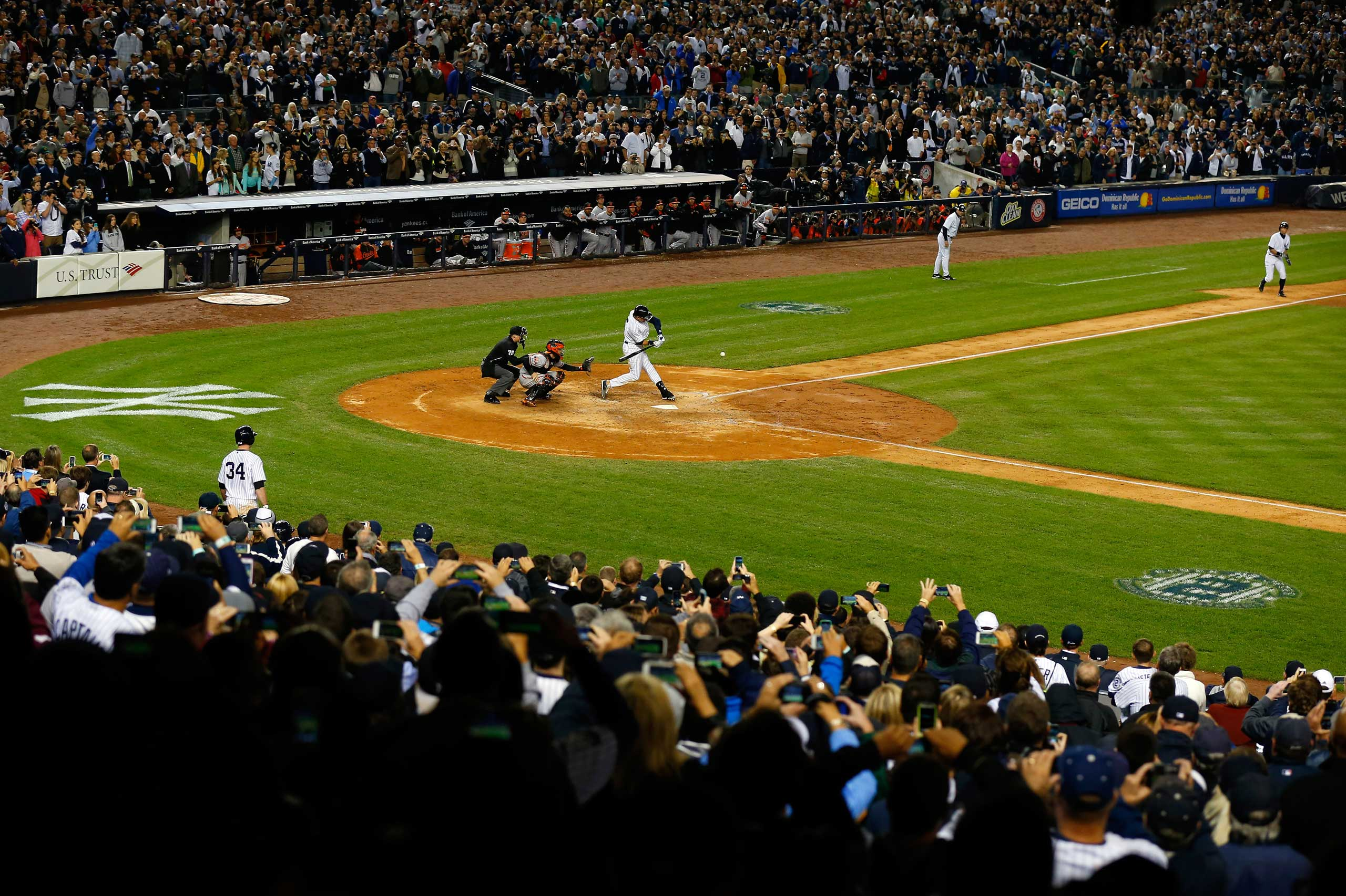 Derek Jeter hits a game winning RBI hit in the ninth inning against the Baltimore Orioles in his last game ever at Yankee Stadium on Sept. 25, 2014.