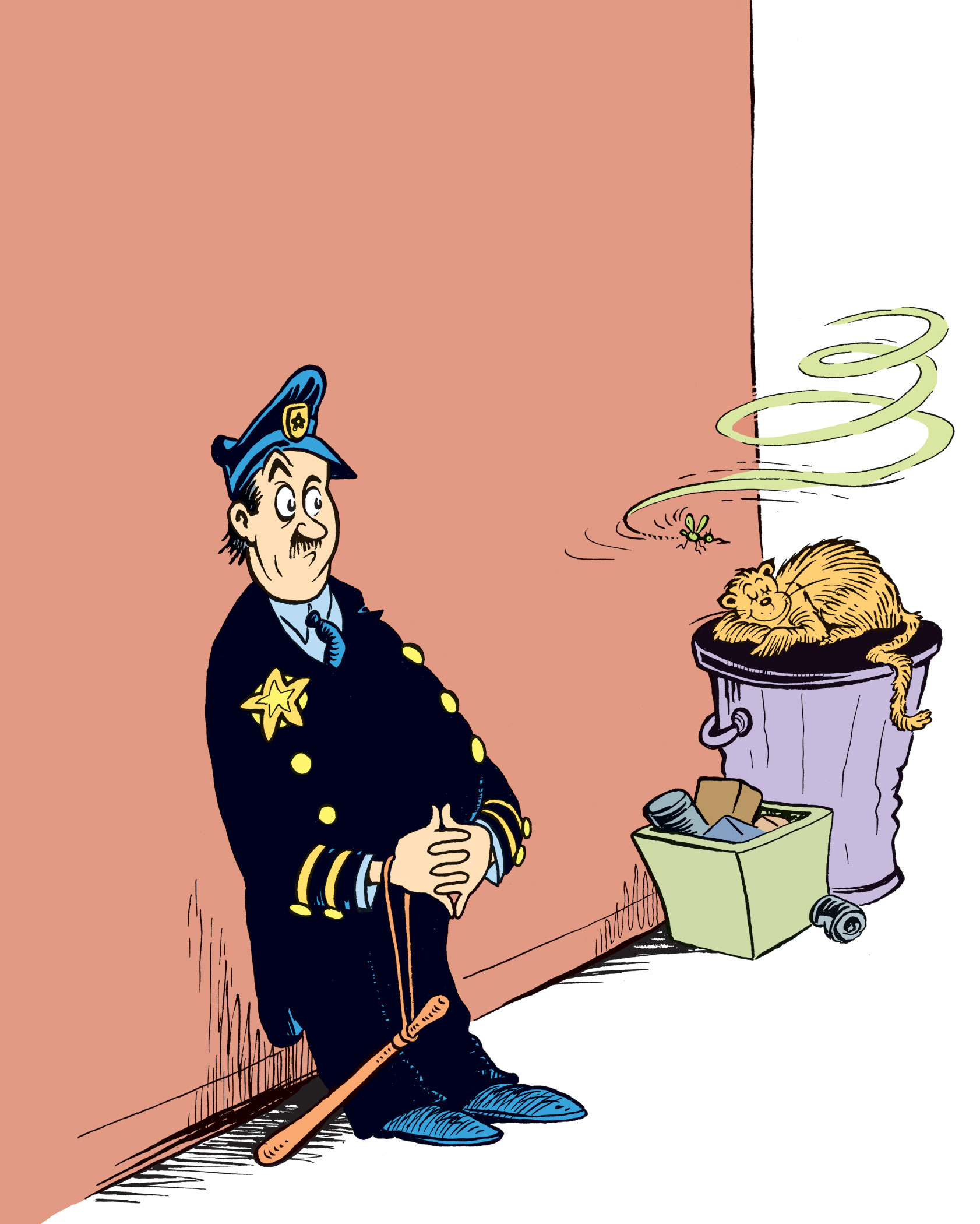 Officer Pat in an illustration from Horton and the Kwuggerbug and More Lost Stories by Dr. Seuss