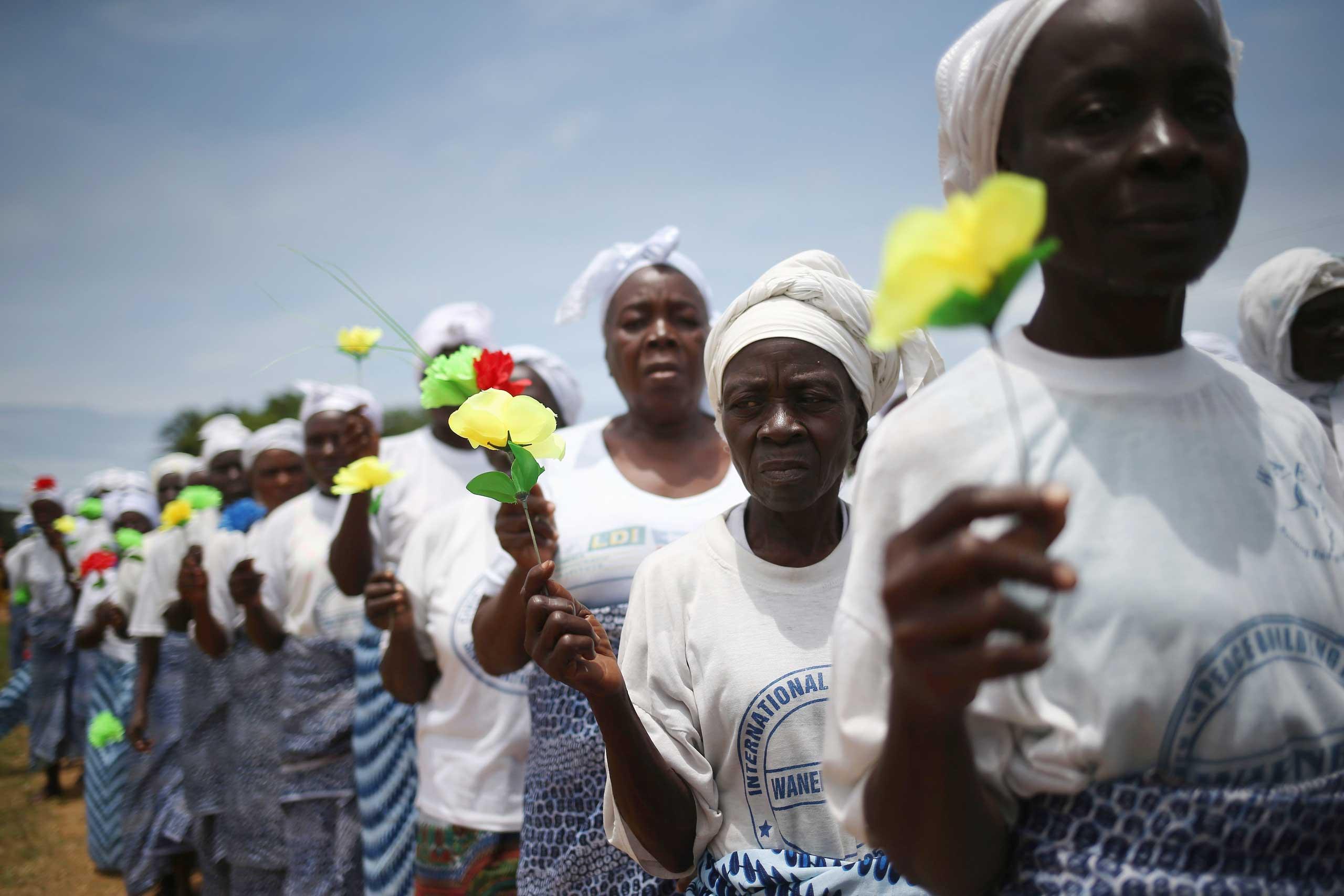 Women pray for an end of the Ebola epidemic on Aug. 14, 2014 in Monrovia, Liberia.