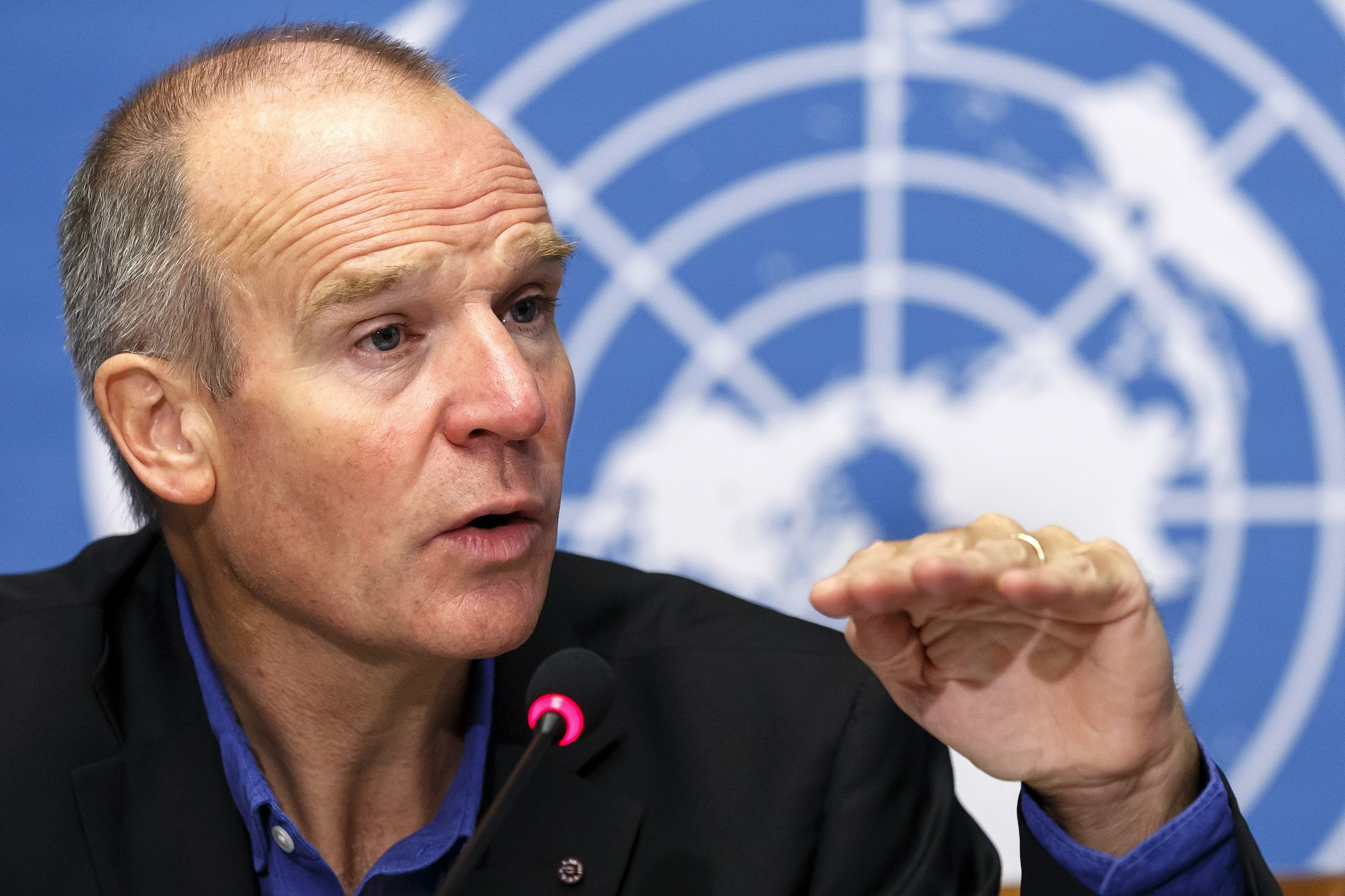 Christopher Dye, Director of Strategy of the World Health Organization speaks to the media about Ebola Virus Disease in West Africa, during a press conference, at the European headquarters of the United Nations in Geneva on Sept. 22, 2-14.