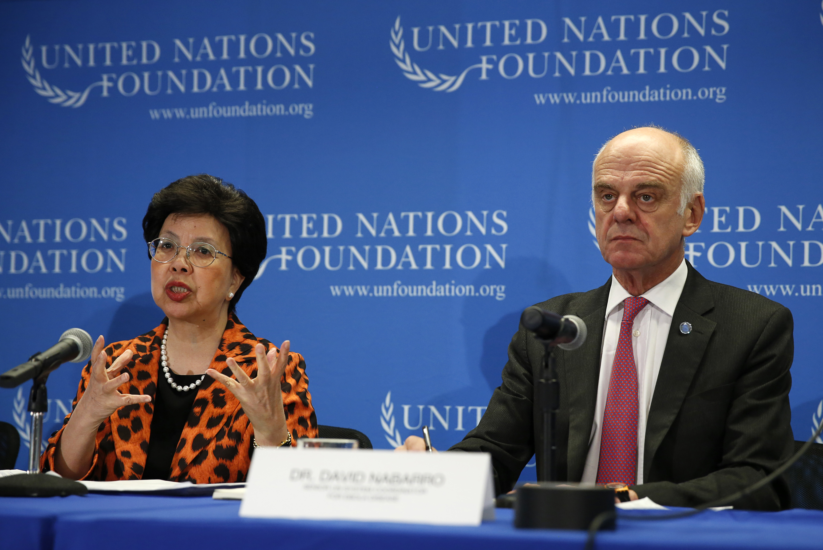 World Health Organization (WHO) Director-General Dr. Margaret Chan (L) and Senior United Nations System Coordinator for Ebola Virus Disease Dr. David Nabarro appear at a briefing to discuss the Ebola outbreak in West Africa at the UN Foundation in Washington on September 3, 2014.