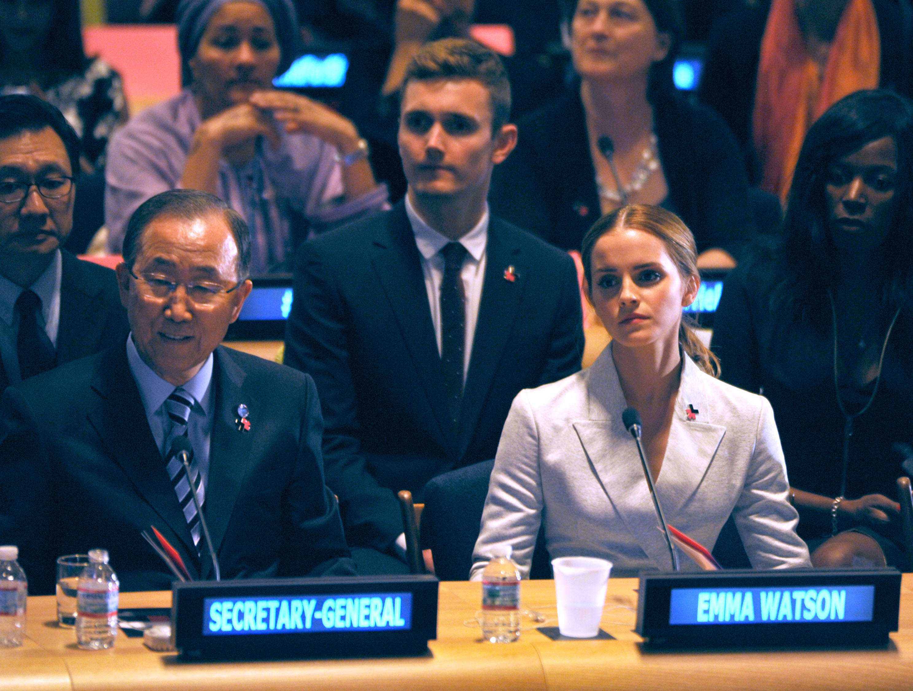 Emma Watson and Ban Ki-moon attend the launch of the HeForShe Campaign at the United Nations on September 20, 2014 in New York City.