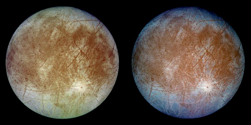 Look familiar? Europa (in natural color, left, and enhanced-contrast color, right) is more like Earth than we ever knew.