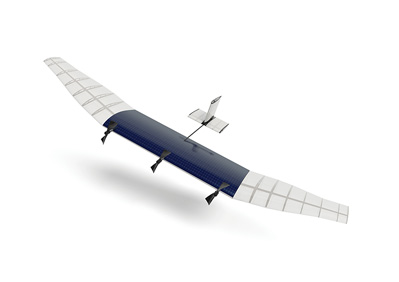 An illustration of a drone to be designed by Facebook and Internet.org