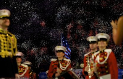 Members of the President's Own Marine Band stand during a fireworks display commemorating the bicentennial of the writing of The Star-Spangled Banner at Fort McHenry National Historic Park on Sept. 13, 2014 in Baltimore.