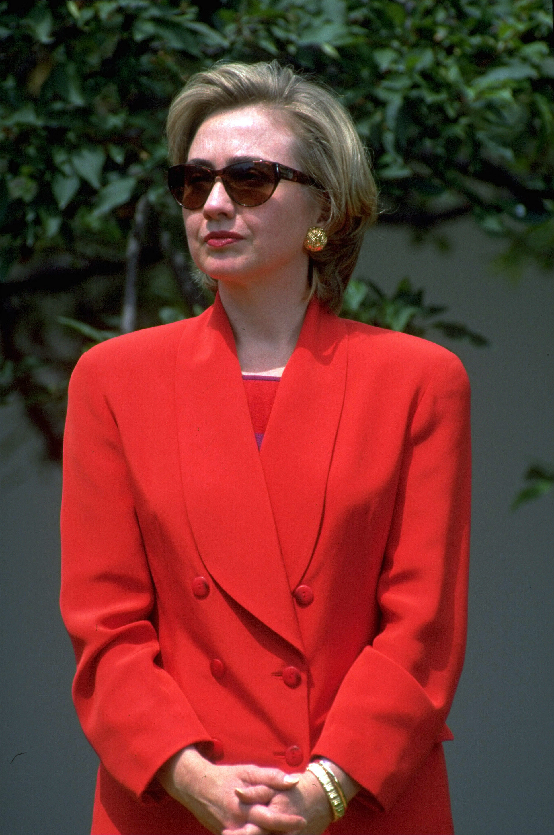 First Lady Hillary Rodham Clinton in the White House Rose Garden during a meeting with the League of Women Voters in Washington on June 7, 1993.