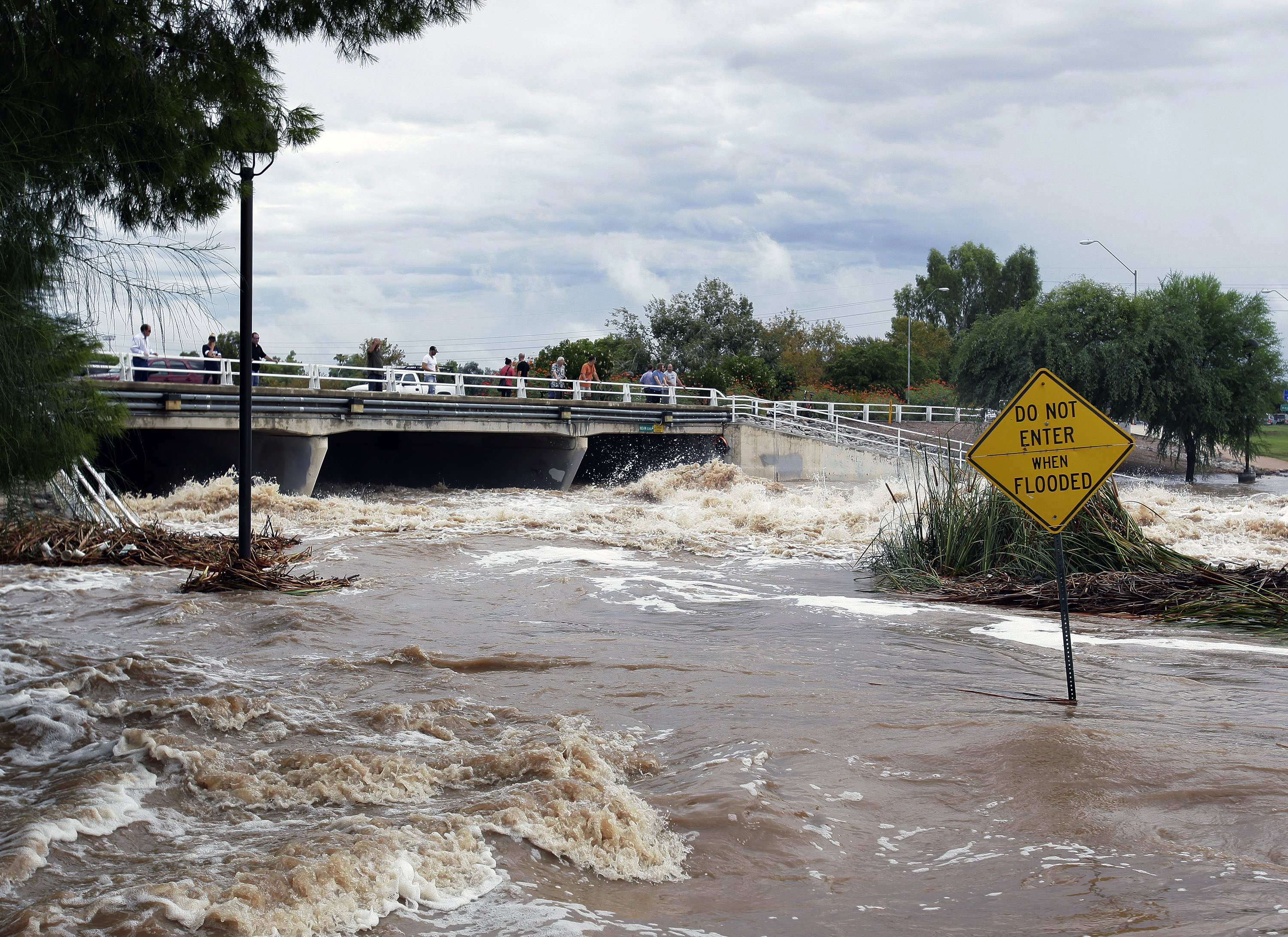 Floodwaters surge in Scottsdale, Ariz. on Sept. 8, 2014.