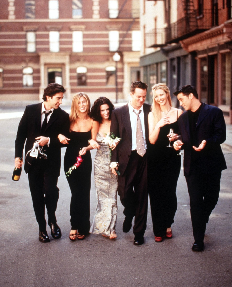 The Cast Of  Friends  from the 1999-2000 Season. From L-R: David Schwimmer, Jennifer Aniston, Courteney Cox Arquette, Matthew Perry, Lisa Kudrow And Matt Leblanc.