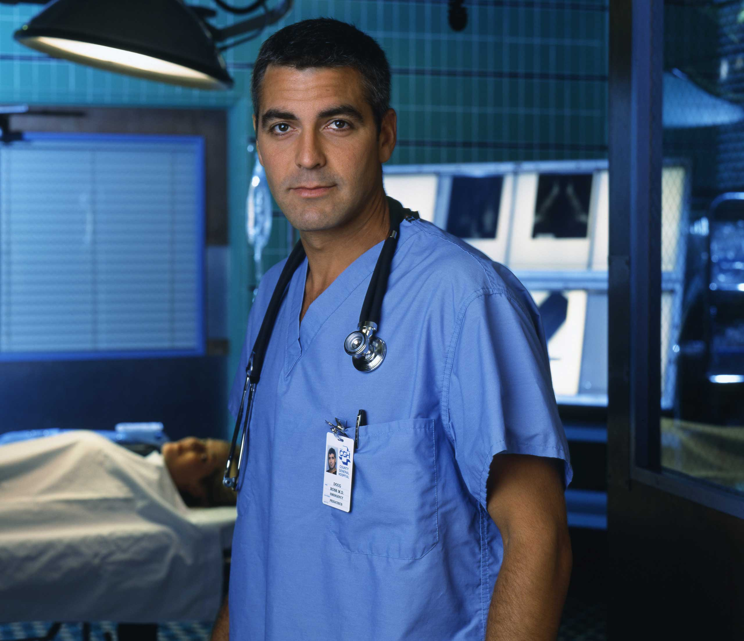 Clooney premiered in his breakout role as Dr. Doug Ross on ER in 1994.