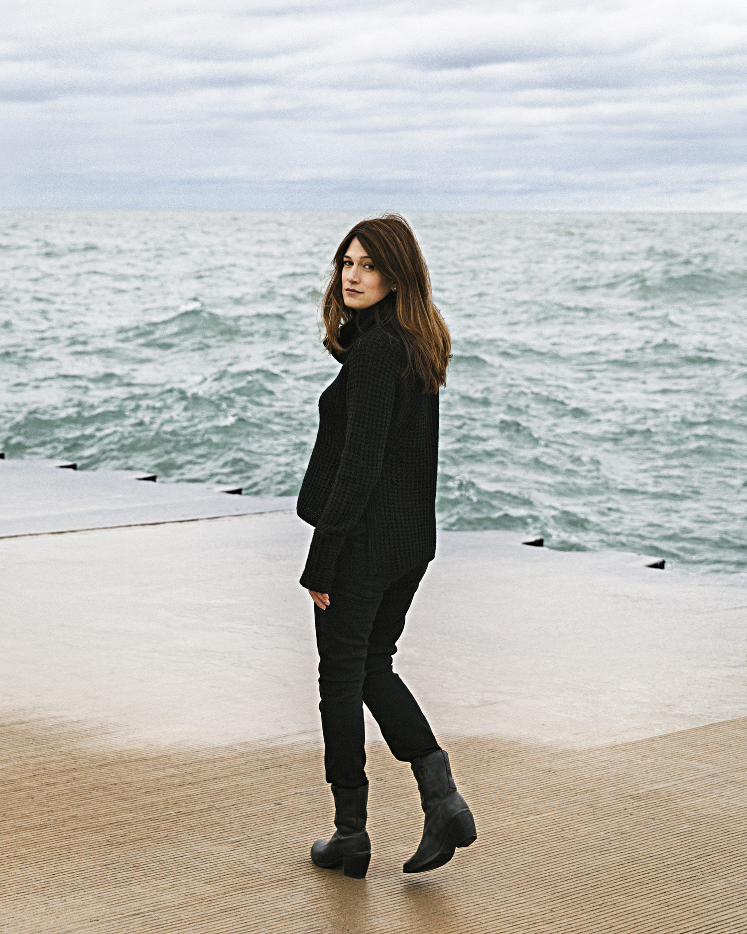 Gone Girl author Flynn on the Lake Michigan waterfront near Chicago's Lincoln Park