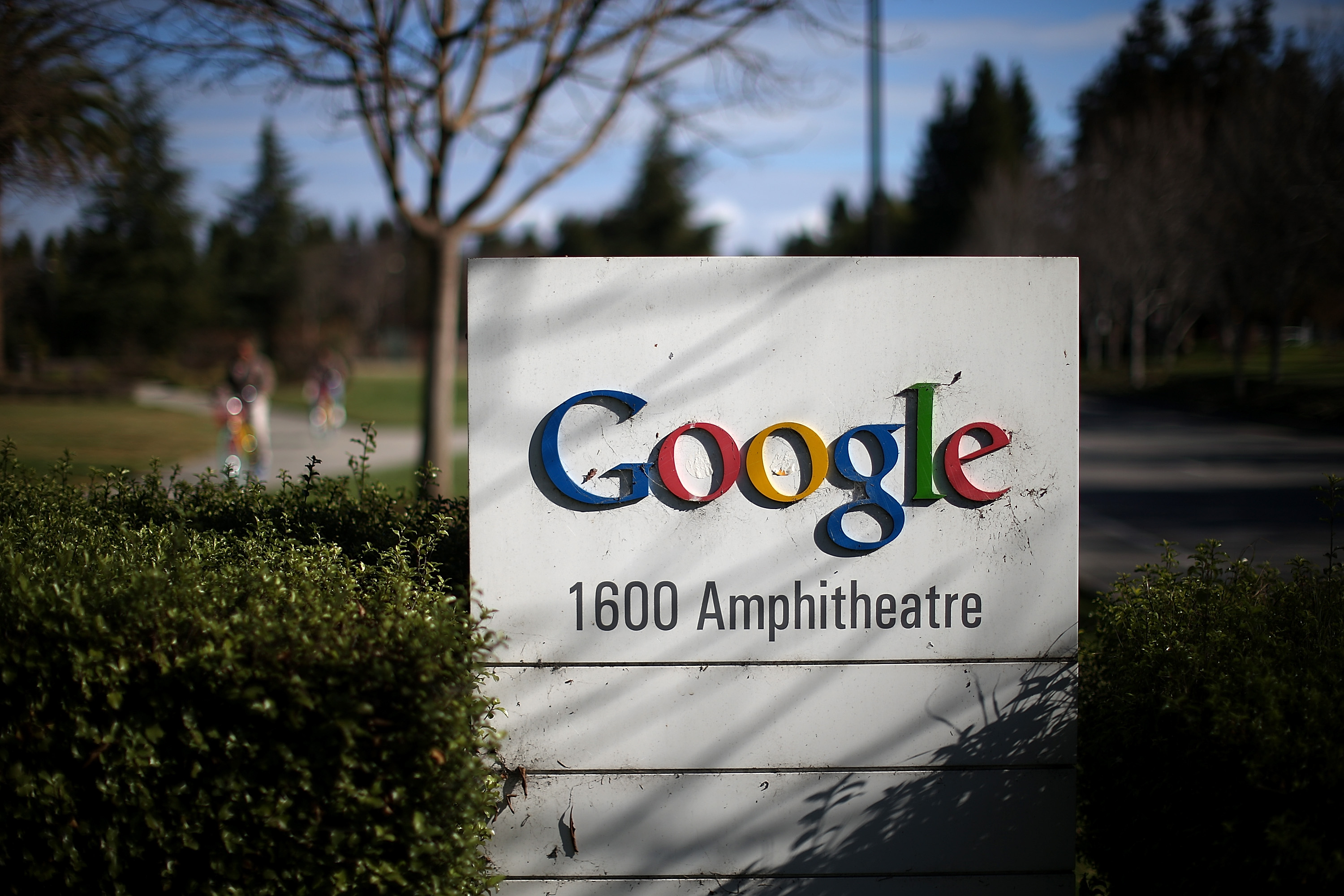 A sign is posted outside of Google headquarters on Jan. 30, 2014, in Mountain View, Calif.