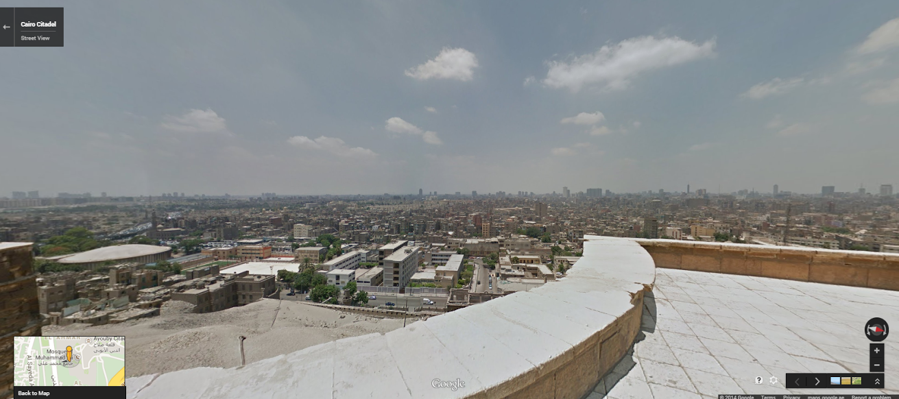 """The view from the Cairo Citadel terrace. <a href=""""https://www.google.com/maps/preview?ll=30.02838,31.262627&amp;spn=0.196476,0.363579&amp;t=m&amp;layer=c&amp;cbll=30.02847,31.262711&amp;panoid=8IIGVe127TmQiifSZm8p2w&amp;cbp=12,309.81,,0,-18.06&amp;z=12"""" target=""""_blank"""">Click here</a> to view in Google Street View."""