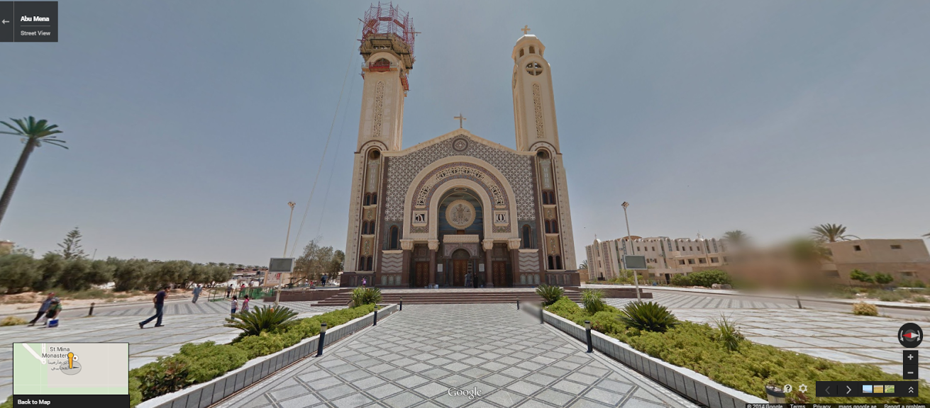 """The Cathedral of Saint Mina in the Western Desert near Alexandria.                                    <a href=""""https://www.google.co.uk/maps/@30.8516688,29.6656993,3a,75y,82.65h,100.91t/data=!3m5!1e1!3m3!1sT0_remYzq7A1DqKjFRJwWg!2e0!3e5!6m1!1e1?hl=en"""" target=""""_blank"""">Click here</a> to view in Google Street View."""
