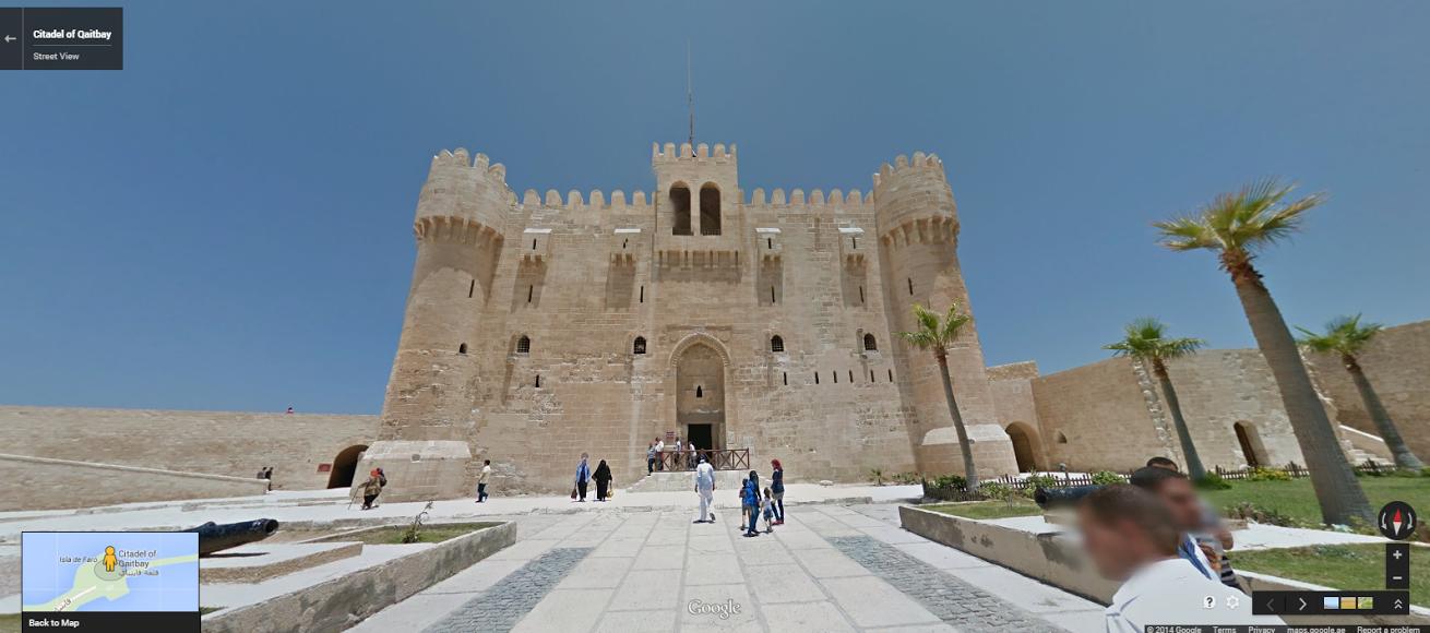 "The Citadel of Qaitbay in Alexandria. <a href=""https://www.google.com/maps/@31.2133539,29.8853383,3a,75y,23.68h,93.77t/data=!3m5!1e1!3m3!1sF8CNvTjU_v-Q00ao-ZrfAQ!2e0!3e5"" target=""_blank"">Click here</a> to view in Google Street View."