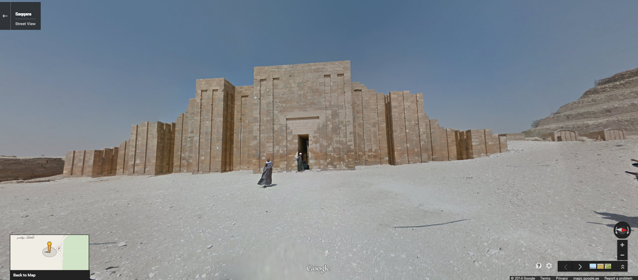 """The Enclosure Wall at the Step Pyramid of King Djoser at Saqqara. <a href=""""https://www.google.com/maps/preview?ll=29.86774,31.216278&amp;spn=0.196794,0.363579&amp;t=m&amp;layer=c&amp;cbll=29.867731,31.216419&amp;panoid=MEtvFSK_caxSHurTkd7Puw&amp;cbp=12,358.22,,0,-13.35&amp;z=12"""" target=""""_blank"""">Click here</a> to view in Google Street View."""