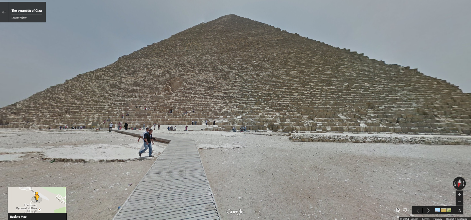 """The Great Pyramid Khufu in Giza. <a href=""""https://www.google.com/maps/@29.9756176,31.1385759,3a,75y,266.76h,90.17t/data=!3m5!1e1!3m3!1stcfQT8Ja6i7iAxcCtDKpLA!2e0!3e5"""" target=""""_blank"""">Click here</a> to view in Google Street View."""