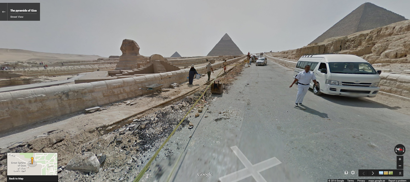The Great Sphinx and the Pyramids of Giza. Click here to view in Google Street View.