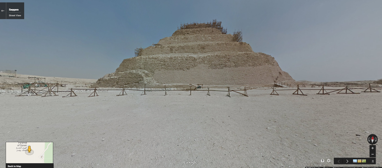 """The Pyramid of Djoser at the Saqqara necropolis.  <a href=""""https://www.google.com/maps/preview?ll=29.86774,31.216278&amp;spn=0.196794,0.363579&amp;t=m&amp;layer=c&amp;cbll=29.867731,31.216419&amp;panoid=MEtvFSK_caxSHurTkd7Puw&amp;cbp=12,358.22,,0,-13.35&amp;z=12"""" target=""""_blank"""">Click here</a> to view in Google Street View."""