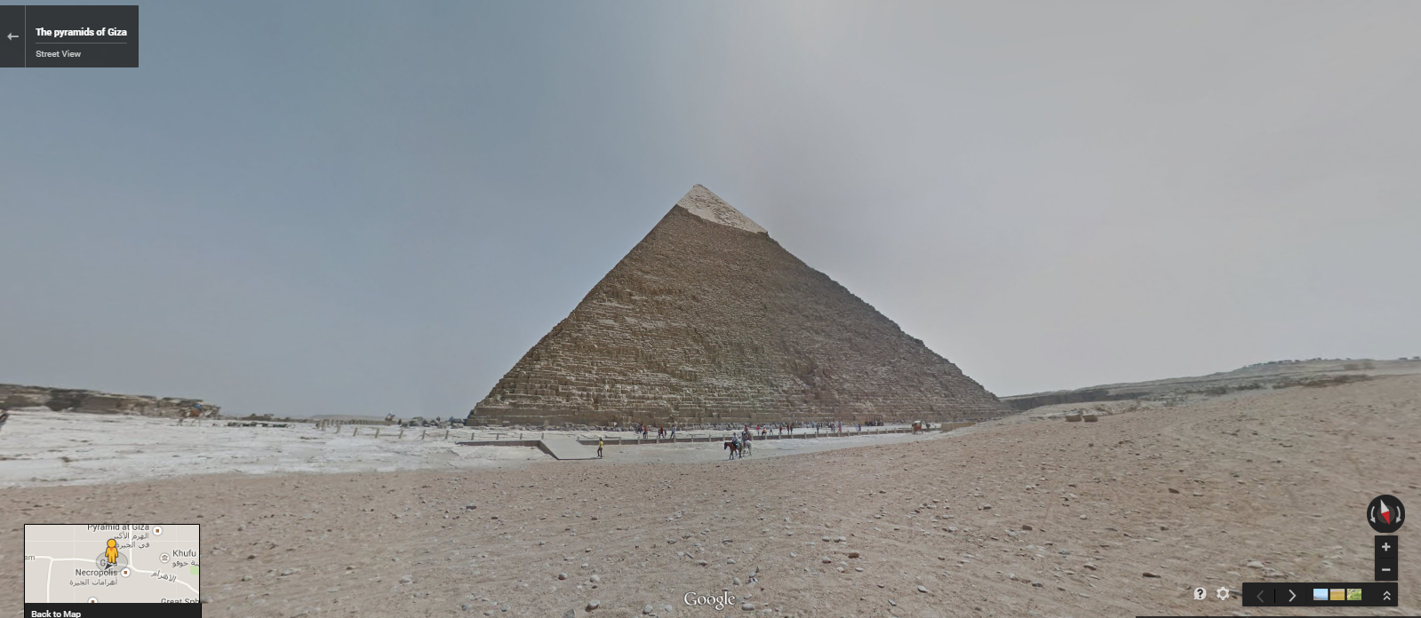 """The Pyramid of Khafre in Giza. <a href=""""https://www.google.com/maps/@29.9756176,31.1385759,3a,75y,266.76h,90.17t/data=!3m5!1e1!3m3!1stcfQT8Ja6i7iAxcCtDKpLA!2e0!3e5"""" target=""""_blank"""">Click here</a> to view in Google Street View."""