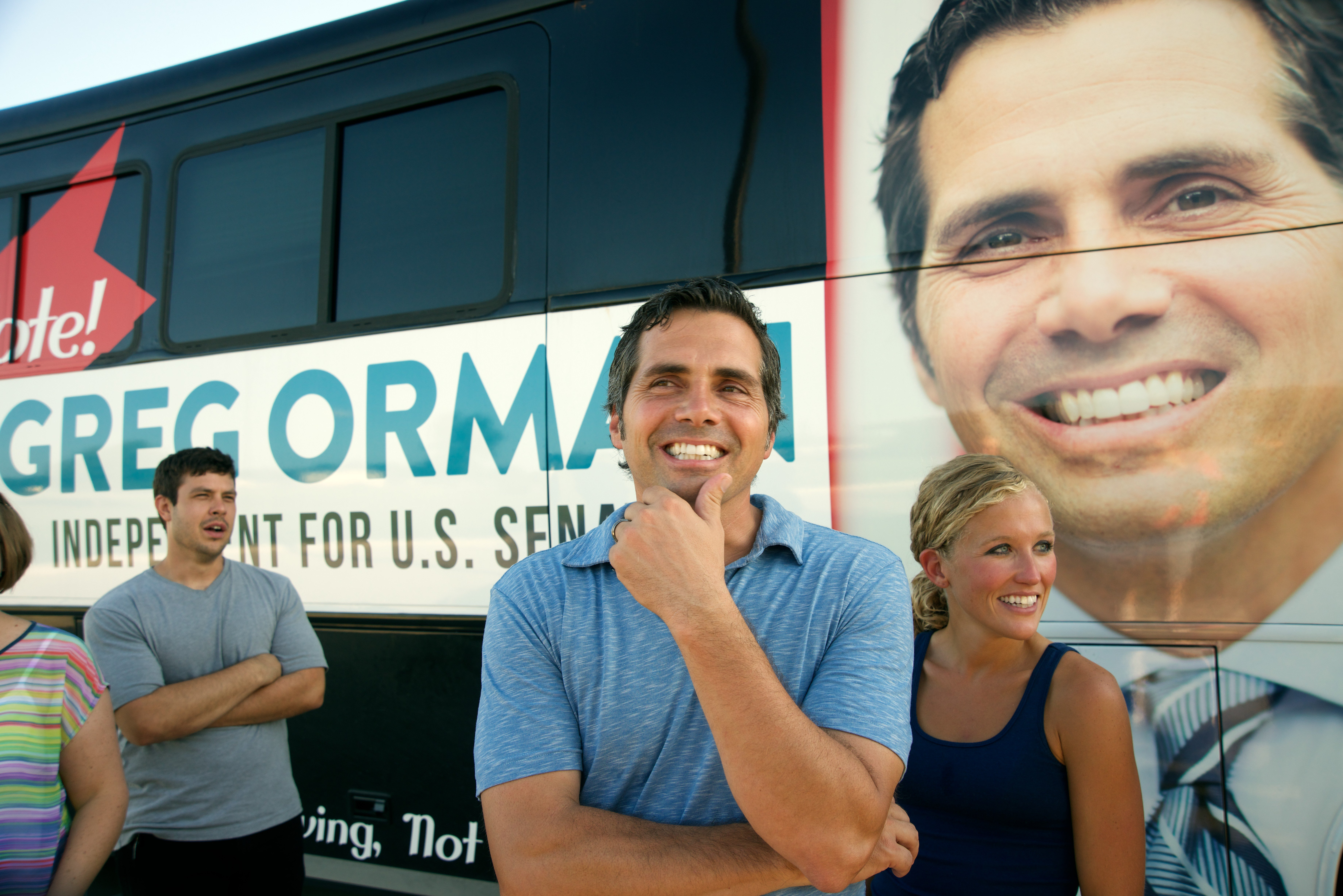 Independent U.S. Senate candidate Greg Orman poses with his wife Sybil at the Clint Bowyers Community Center in the west end of Emporia, Kans.,