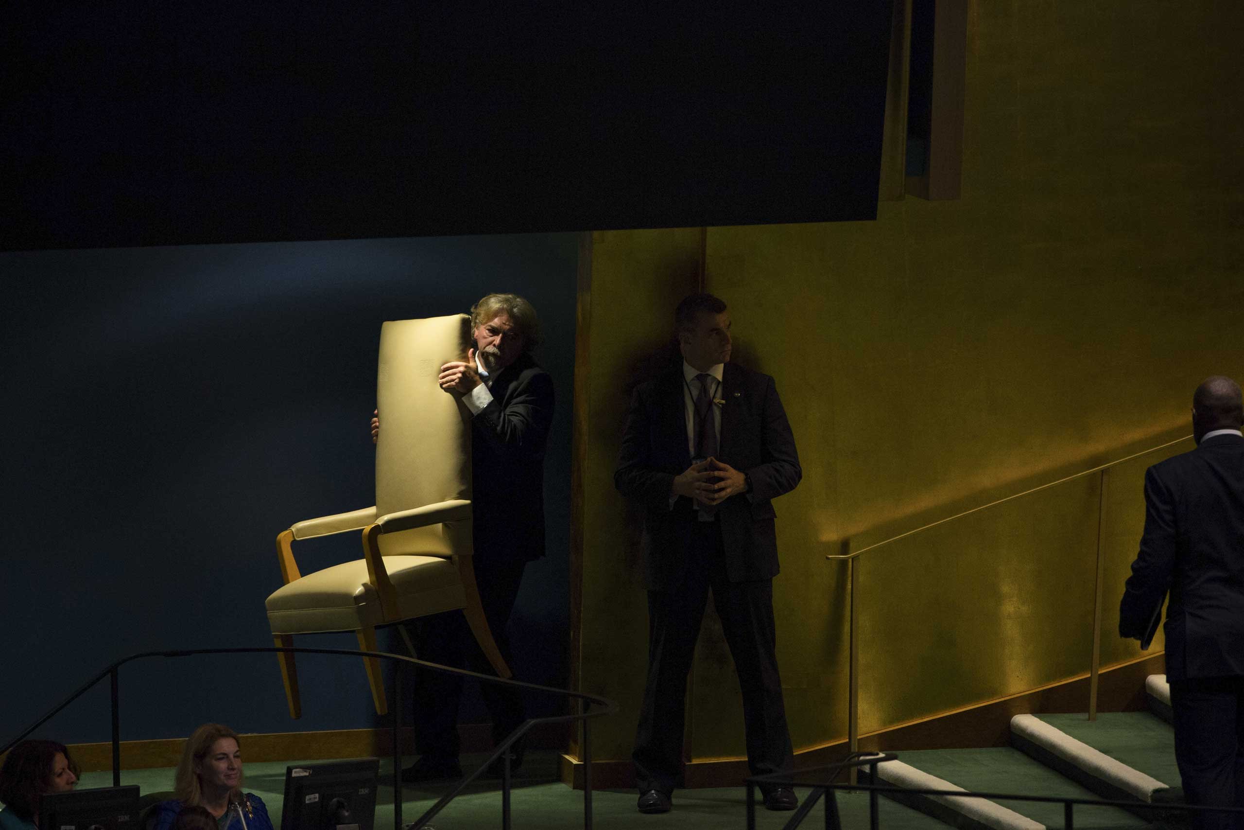 Sept. 24, 2014. The chair that will be sat upon by scores of world leaders was brought to the stage before the start of the General Assembly at the United Nations' headquarters.