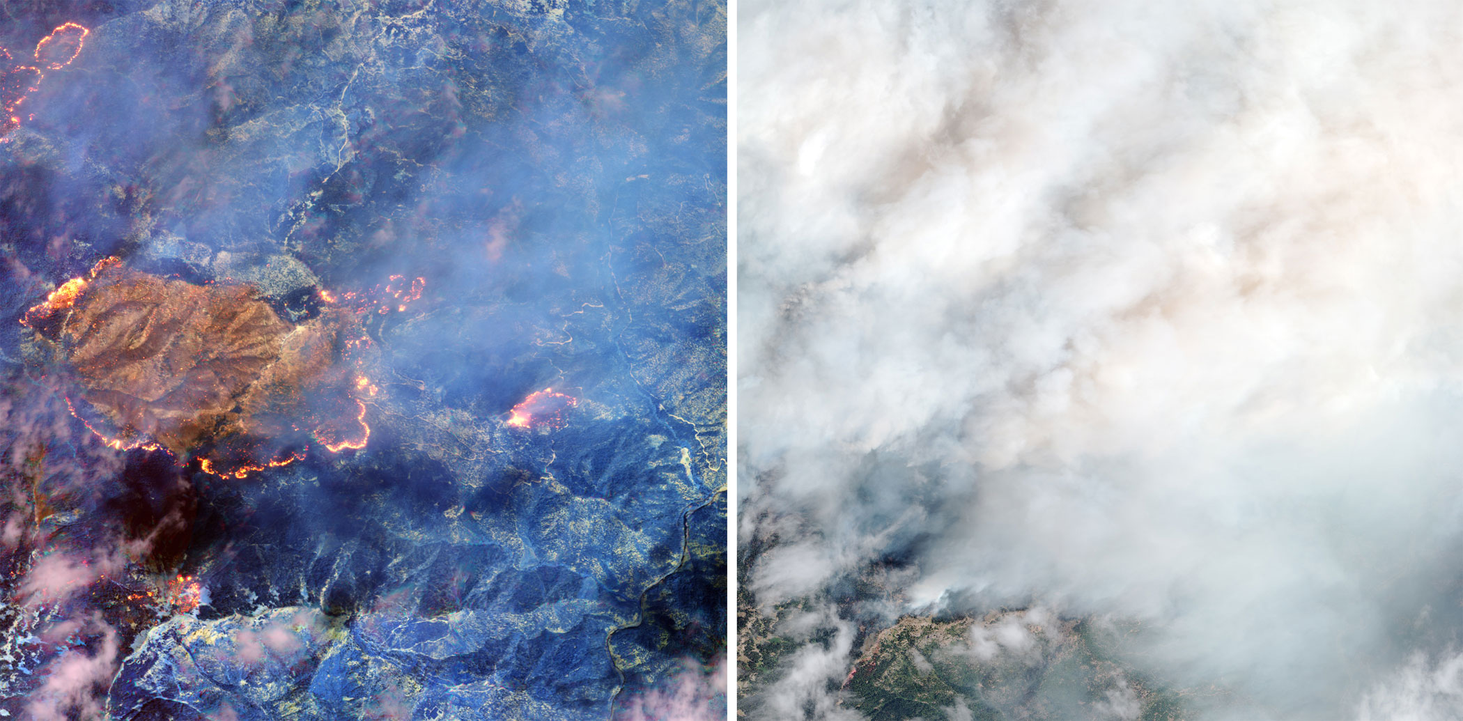 A forest fire at the Happy Camp complex in California's Klamath National Forest imaged with (left) and without (right) SWIR, in Aug. 2014.