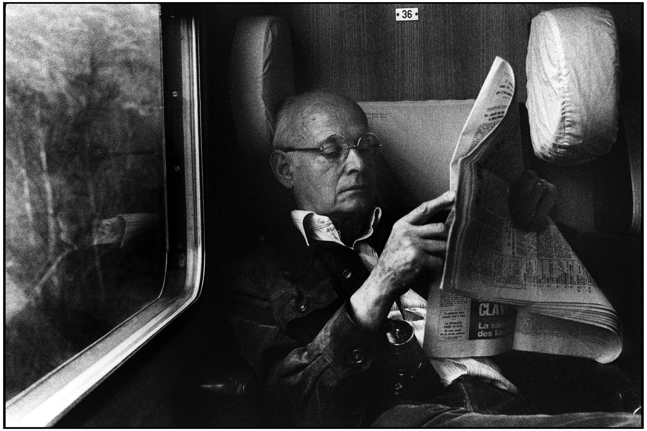 Henri Cartier-Bresson on a train ride to Montreaux in Switzerland, 1976.