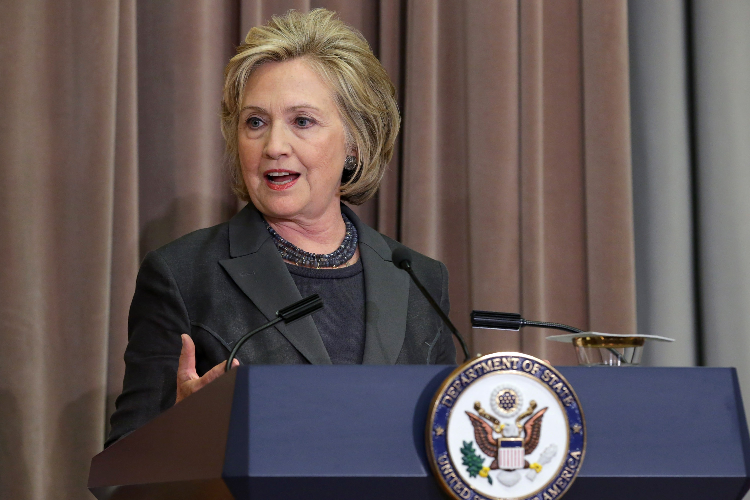 Former Secretary of State Hillary Clinton delivers remarks during the ceremonial groundbreaking of the future U.S. Diplomacy Center at the State Department's Harry S. Truman Building September 3, 2014 in Washington, DC.