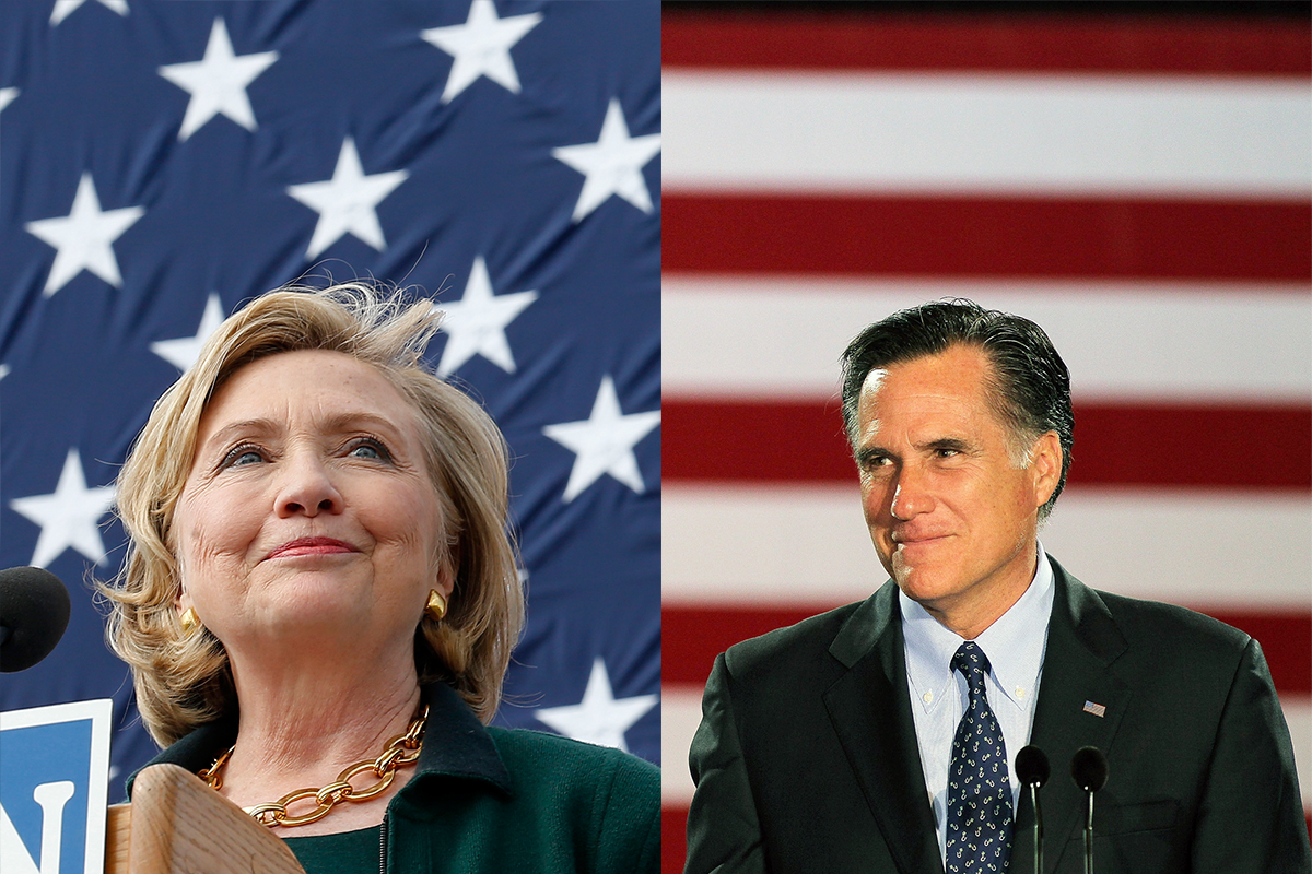 Hillary Clinton gives a speech at the 37th Harkin Steak Fry in Indianola, Iowa on Sept. 14, 2014. ; Mitt Romney speaks to supporters at an election-night rally on April 3, 2012 in Milwaukee, Wisconsin.