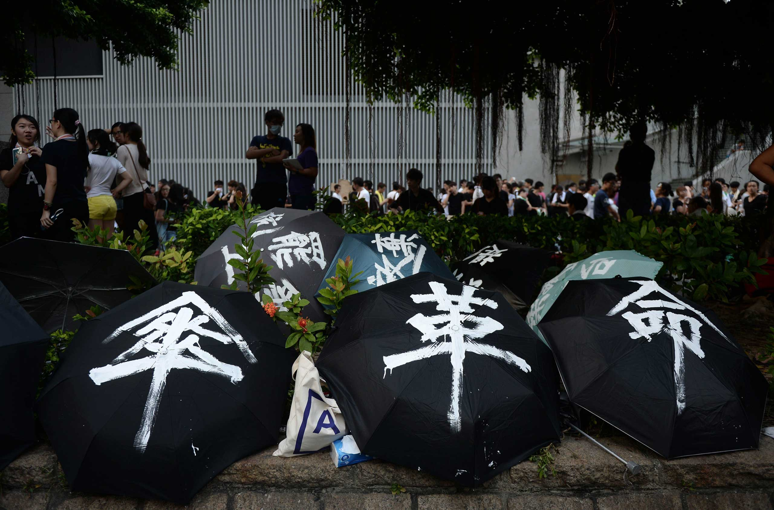 Umbrellas used to shield demonstrators from pepper spray and the sun are displayed during a pro-democracy protest near the Hong Kong government headquarters on Sept. 29, 2014.