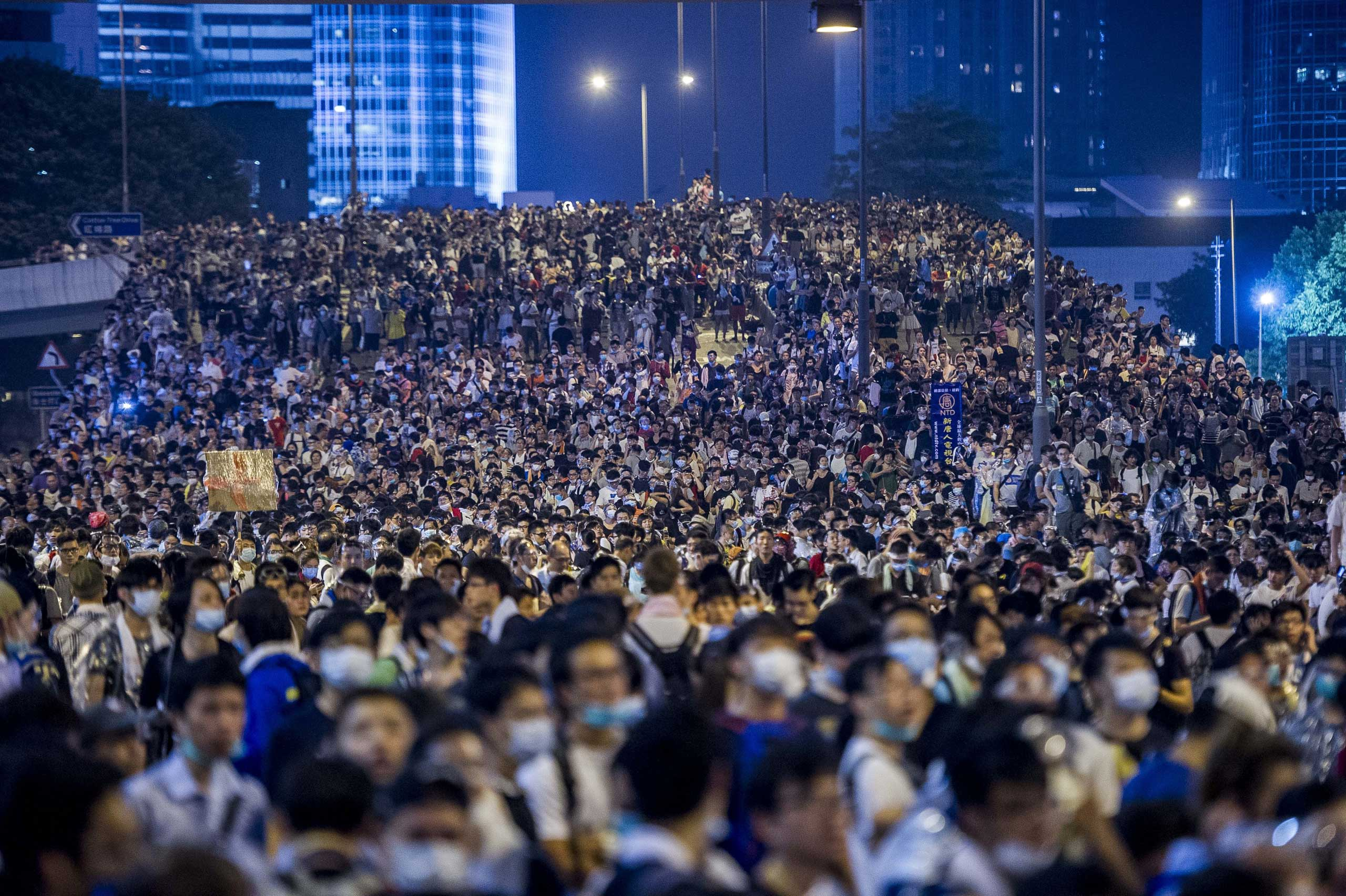 Pro-democracy protesters demonstrate in Hong Kong on Sept. 28, 2014.