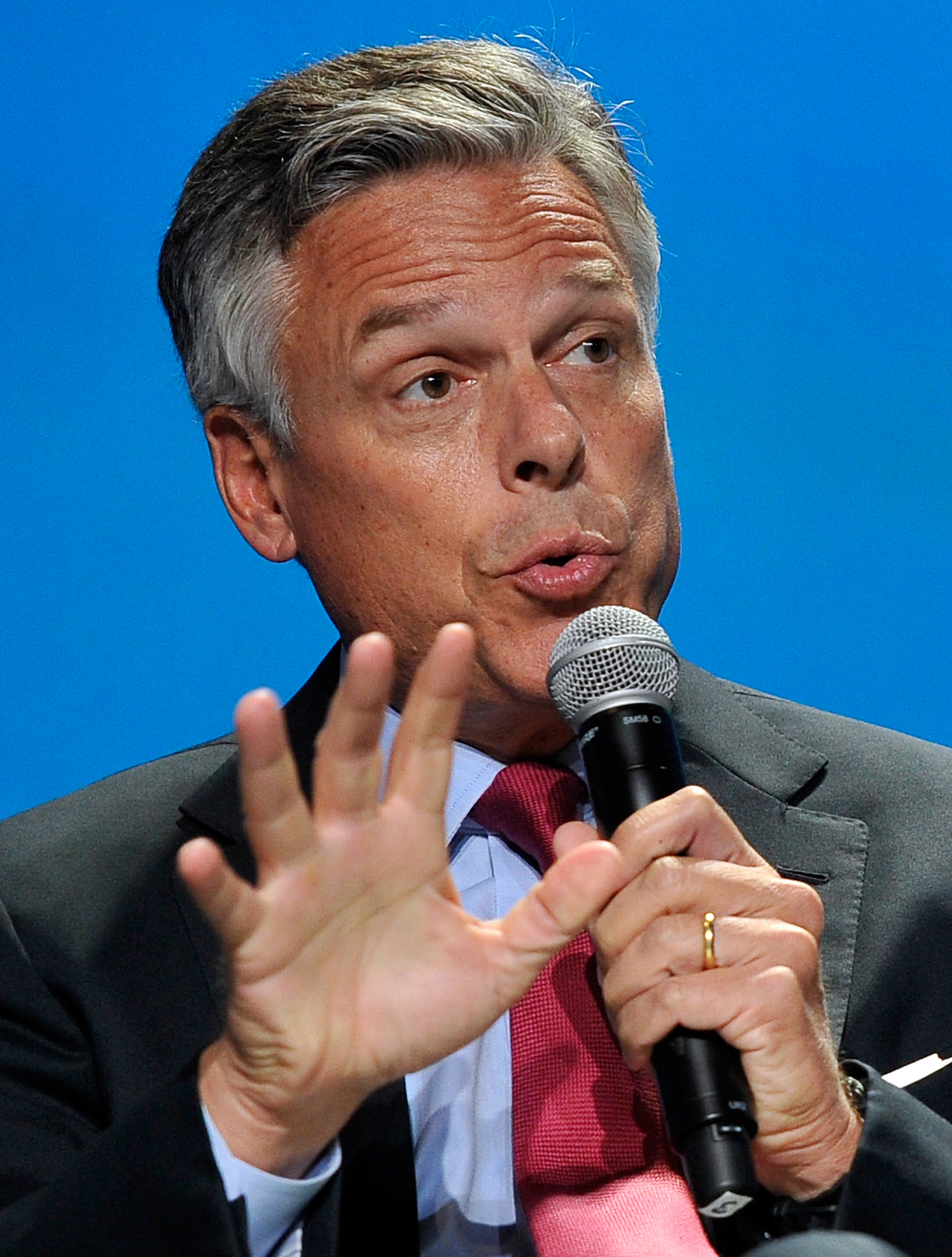 Former Utah Gov. Jon Huntsman Jr. speaks at the National Clean Energy Summit 7.0 at the Mandalay Bay Convention Center on September 4, 2014 in Las Vegas, Nevada.