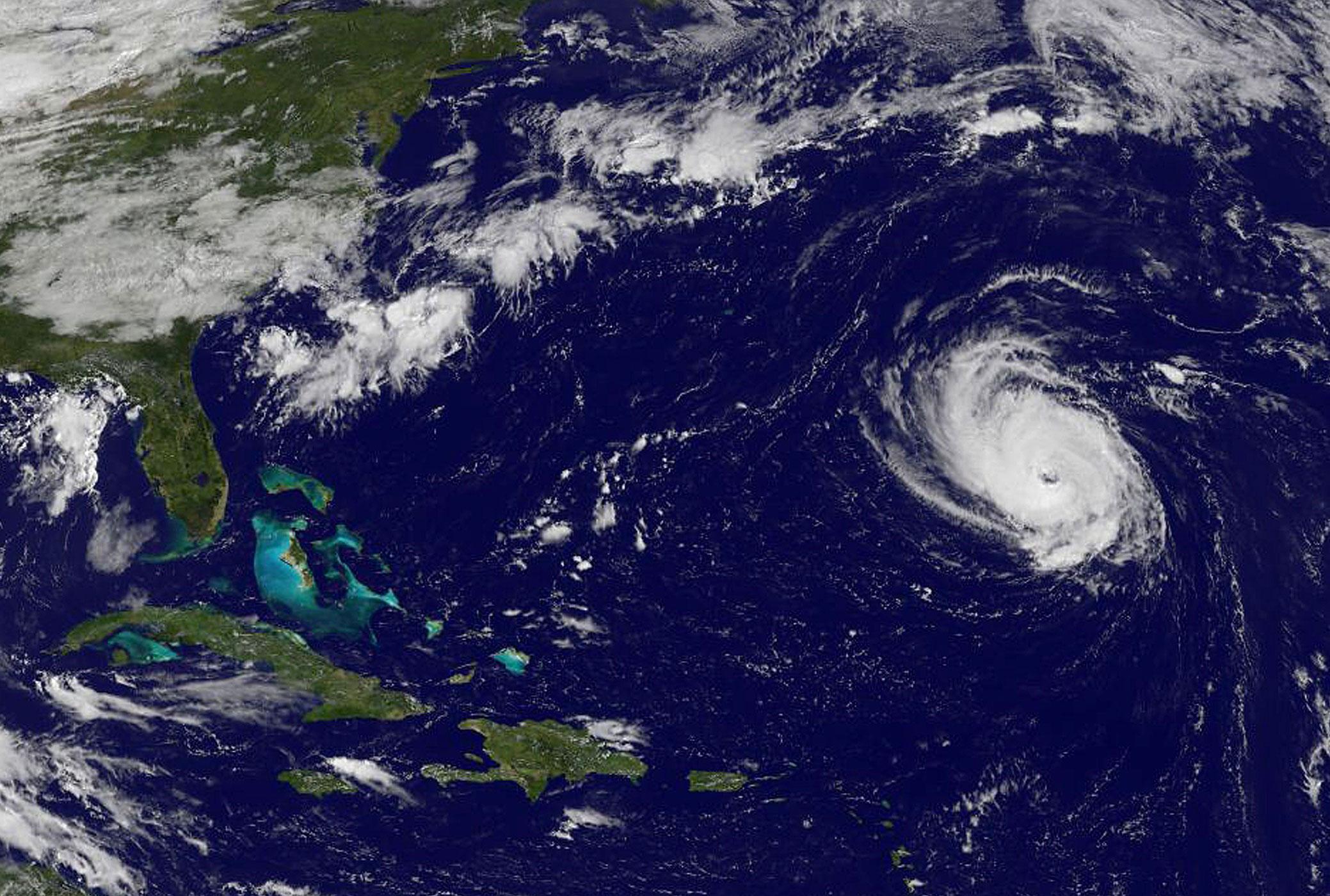 Hurricane Edouard seen in the Atlantic Ocean.