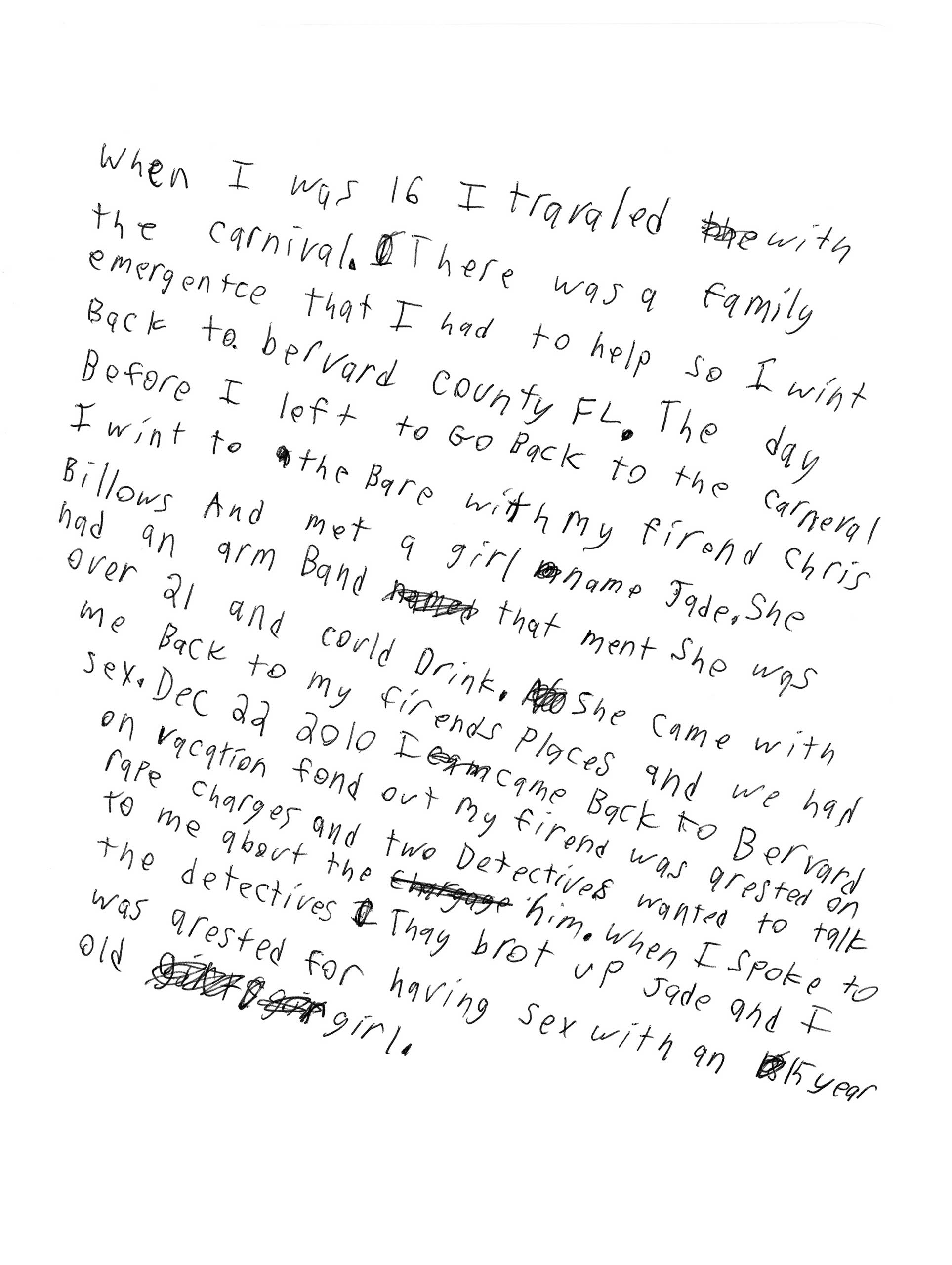 Handwritten letter from a resident of Miracle Village