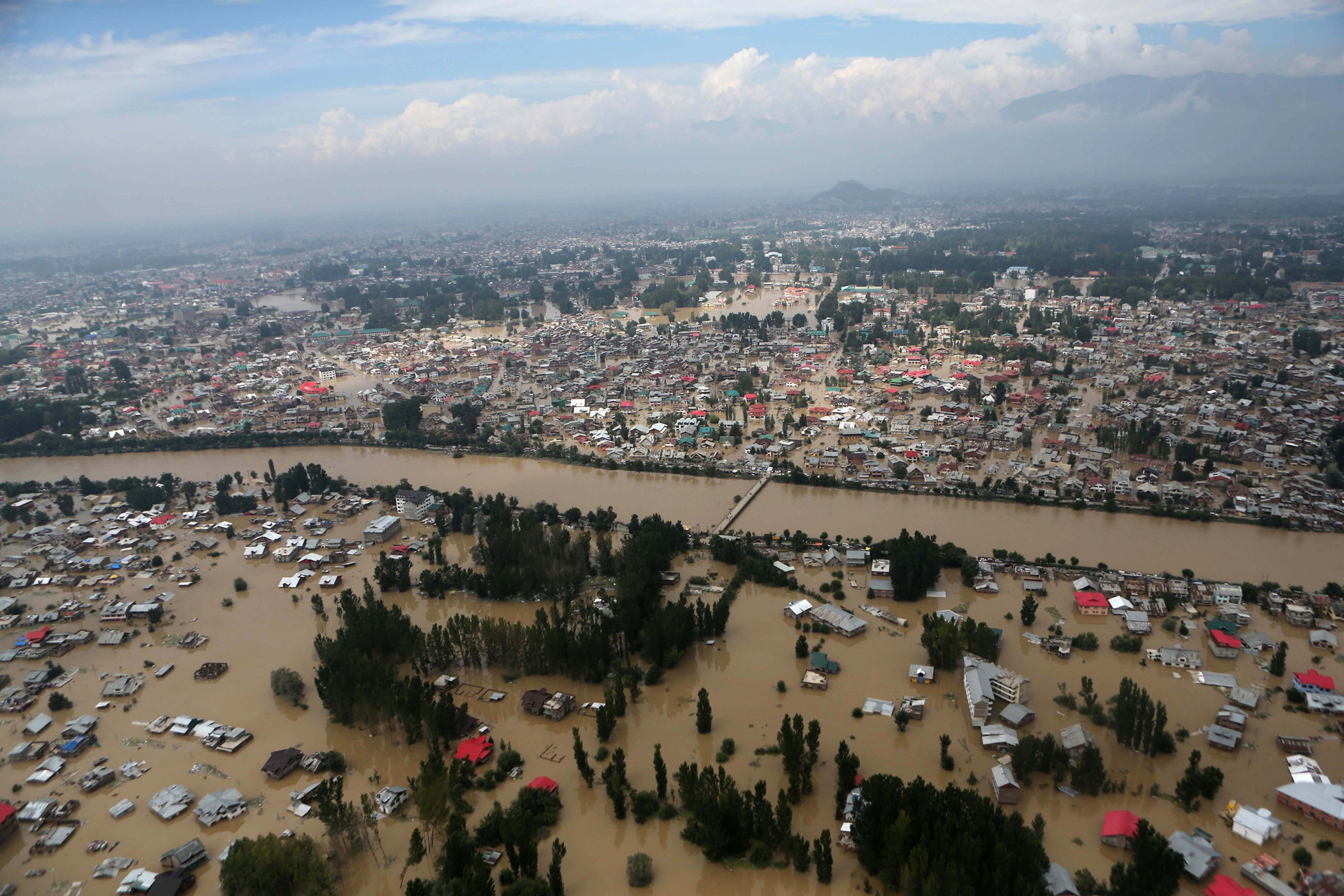 An aerial view shows buildings submerged in floodwaters in Srinagar, in Indian Kashmir, Sept. 9, 2014.