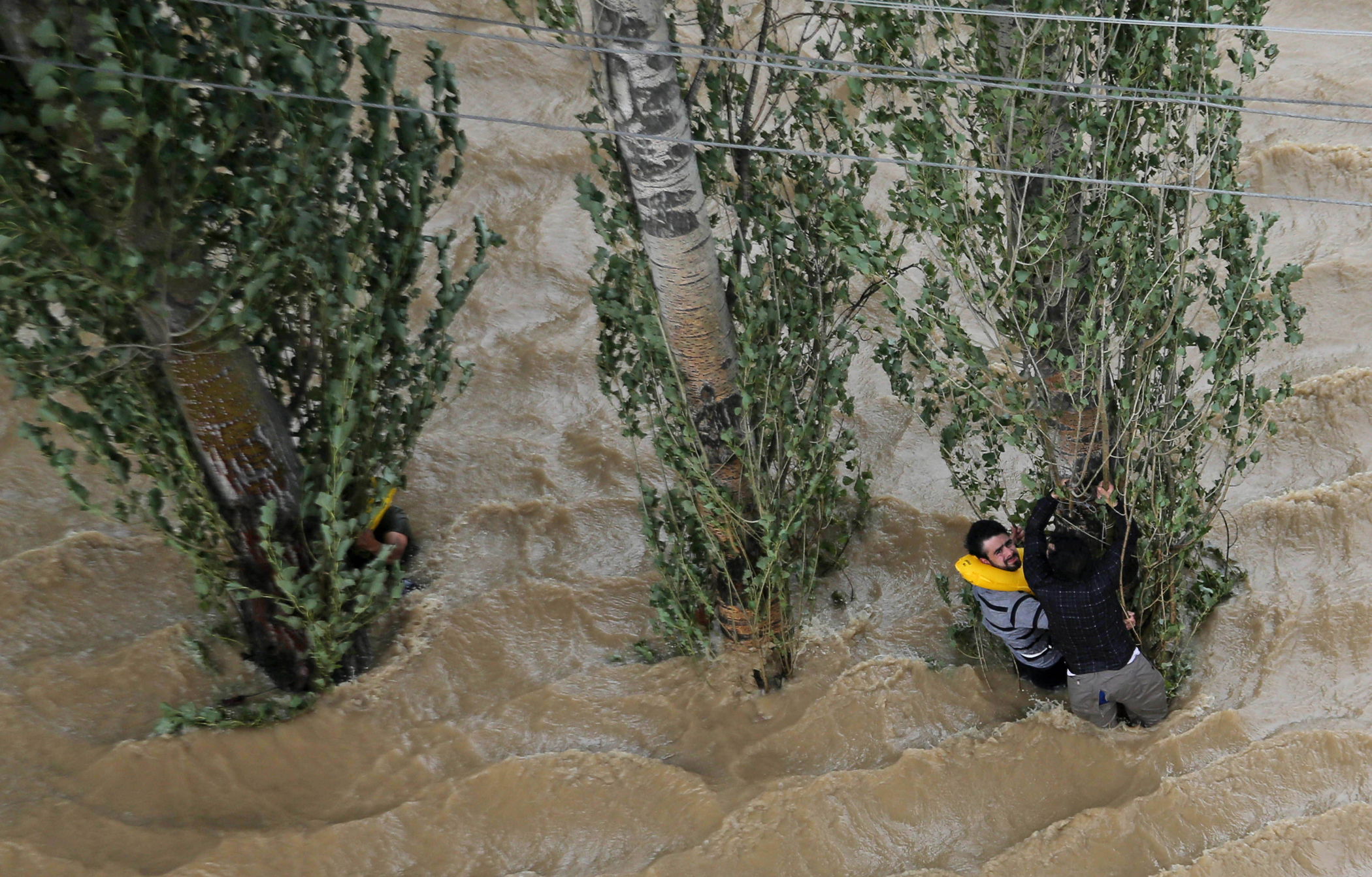 Kashmiris hang on to a tree to prevent being swept away by floodwaters in Srinagar, India, Sept. 9, 2014.