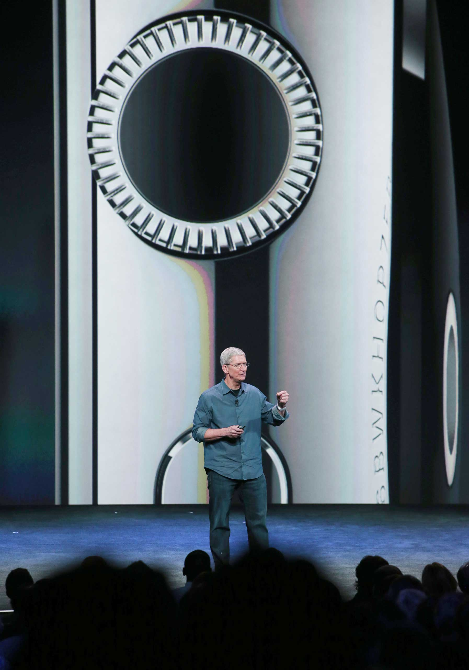 Apple CEO Tim Cook talks about the Apple Watch during an Apple special event at the Flint Center for the Performing Arts in Cupertino, Calif., on September 9, 2014.